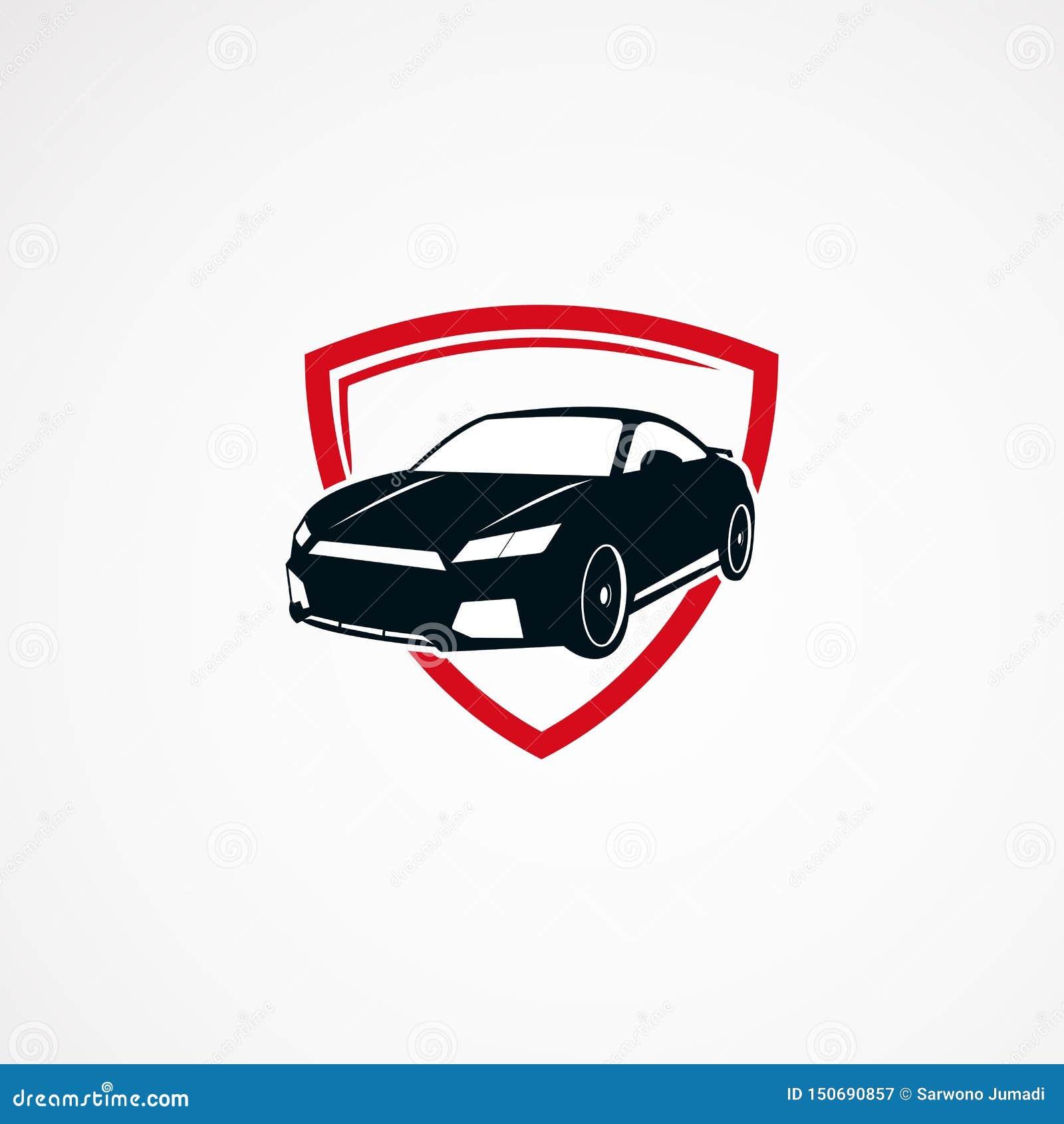 För logodesigner för bil säker begrepp, symbol, beståndsdel och mall för affär