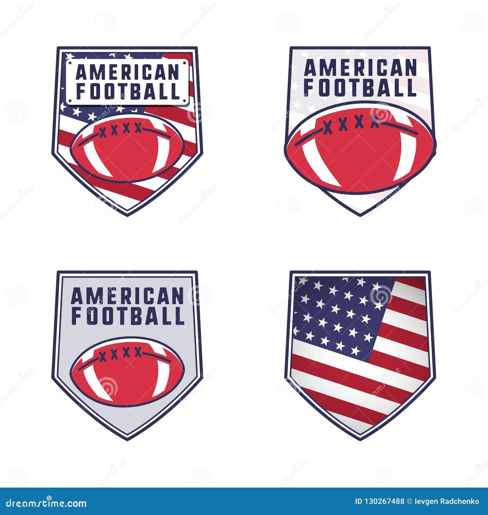 För logoemblem för amerikansk fotboll uppsättning Samling för USA sportemblem i plan färgrik stil Gulliga logotyper planlägger me