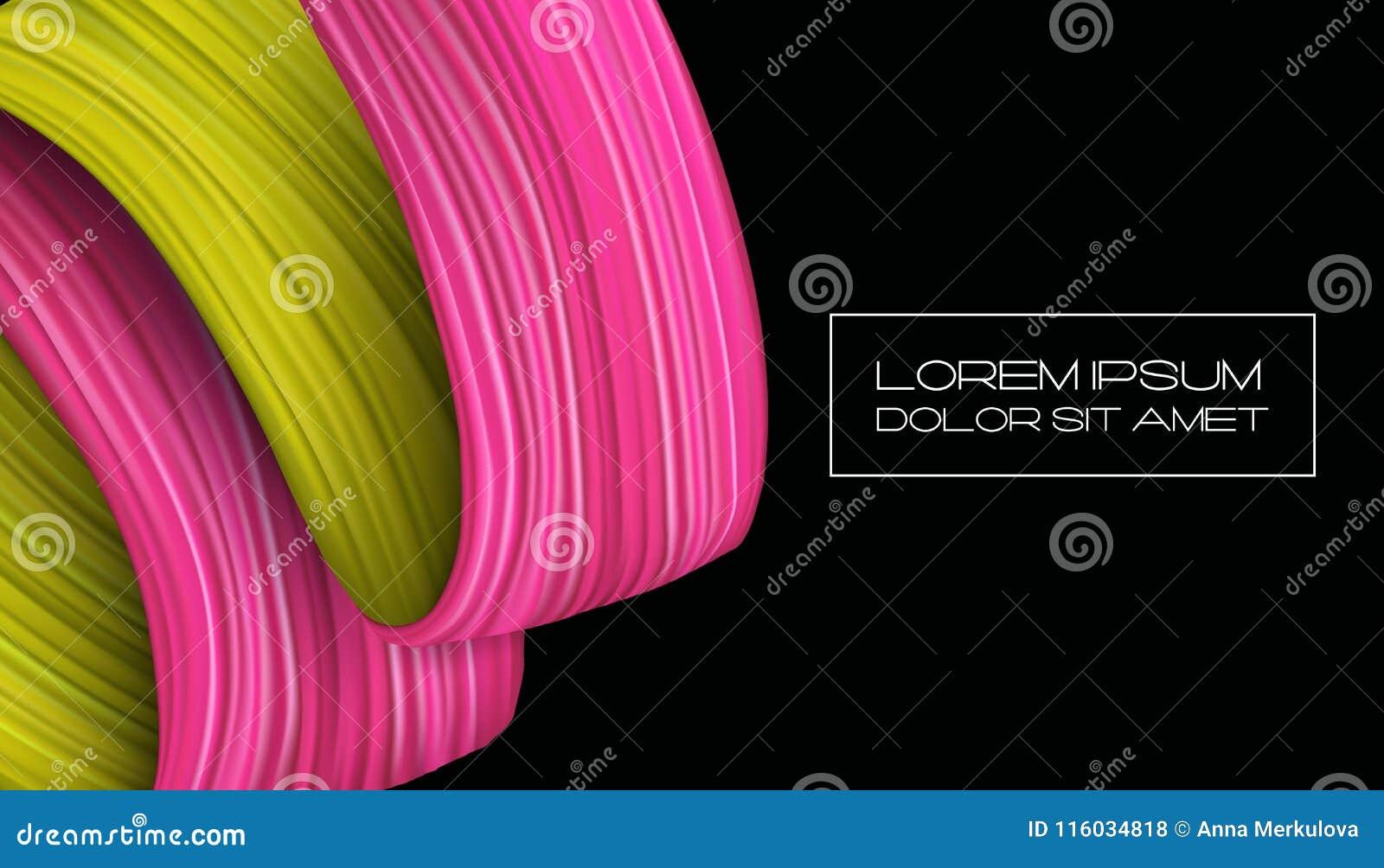För målarfärgborste för abstrakt begrepp 3d slaglängd färgrikt modernt för bakgrund