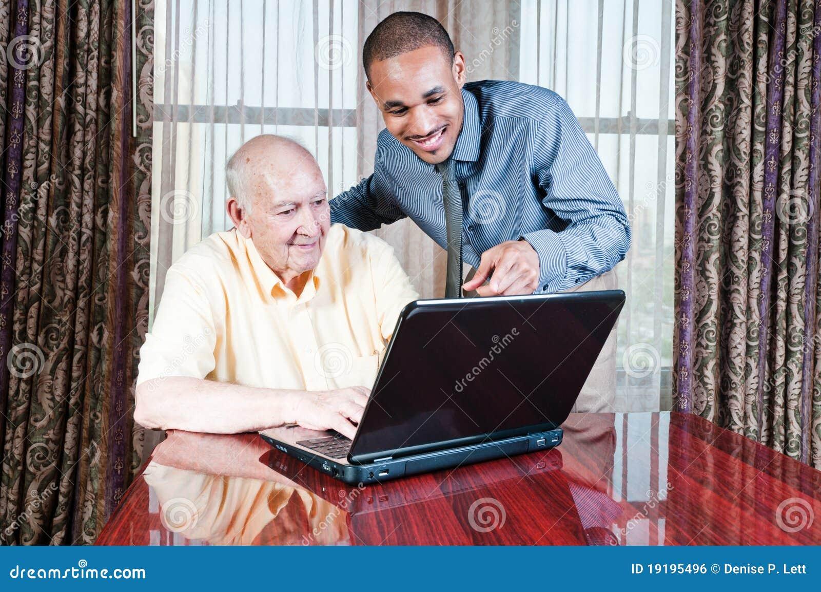 För male fungerande barn manpensionär för dator