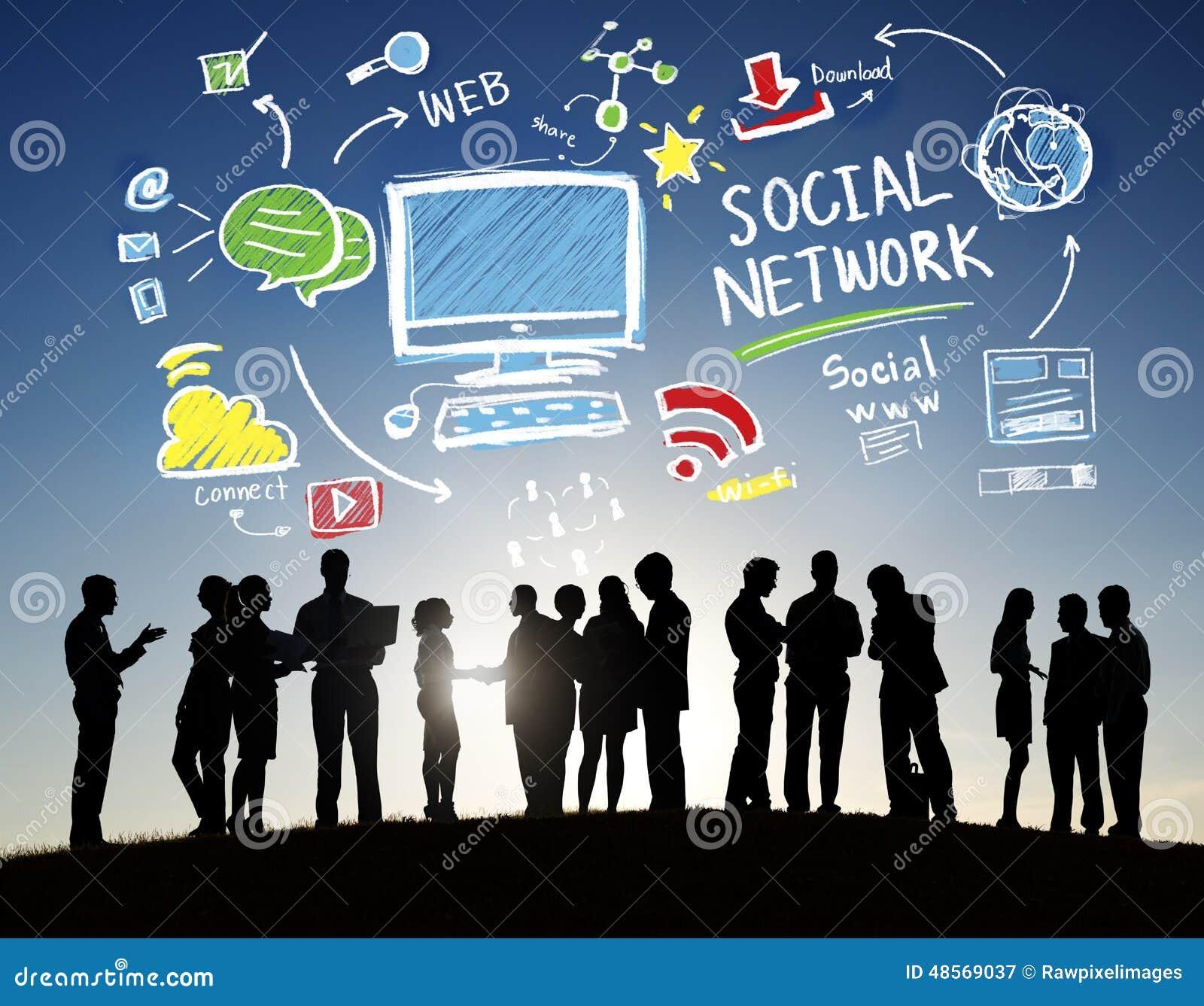 För massmediaaffär för socialt nätverk socialt för folk begrepp utomhus