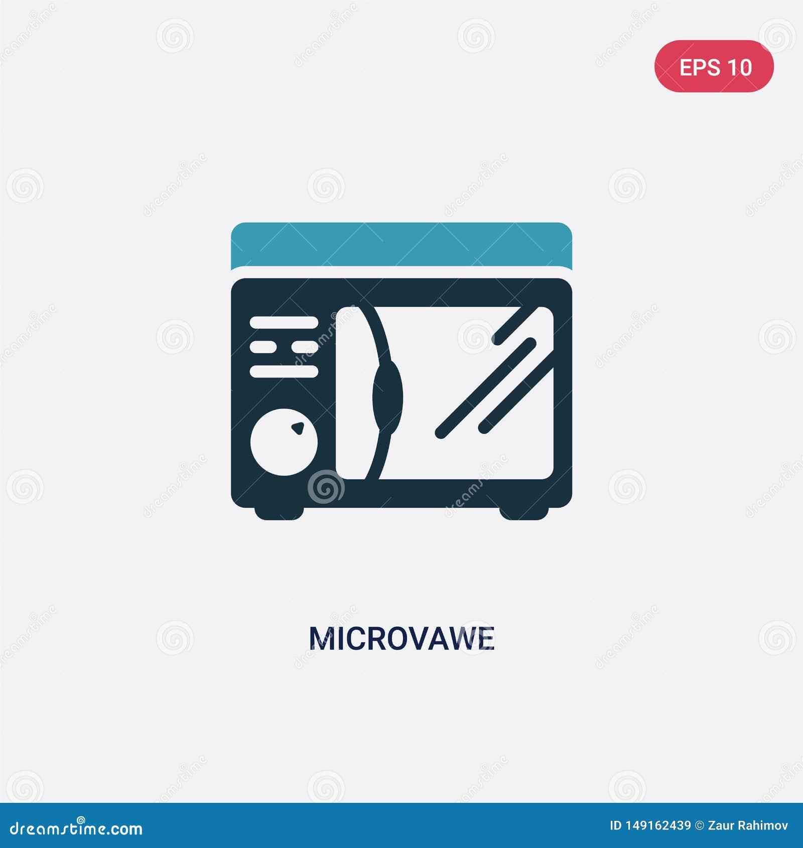För microvawevektor för två färg symbol från annat begrepp det isolerade blåa symbolet för microvawevektortecknet kan vara bruk f