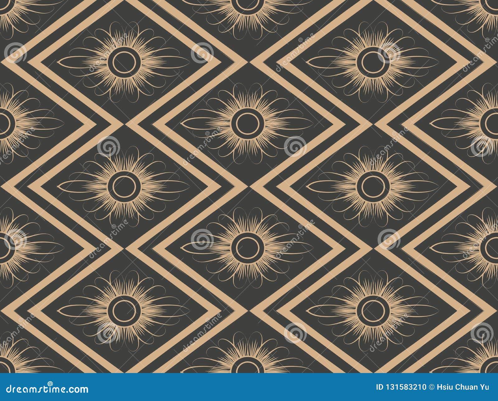För modellbakgrund för vektor damast sömlös retro blomma för ram för kors för geometri för romb för kontroll Elegant lyxig brun s