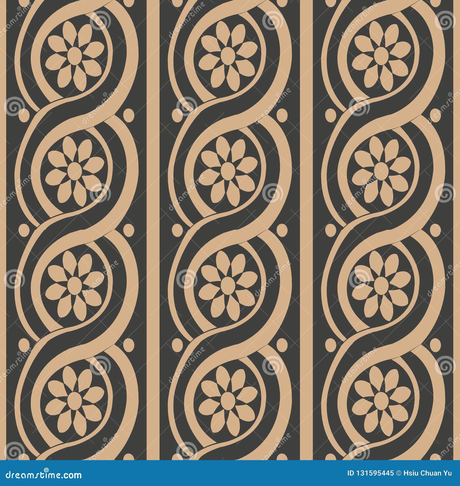 För modellbakgrund för vektor linje för ram för damast sömlös retro kurva spiral rund arg blomma Elegant lyxig brun signaldesign