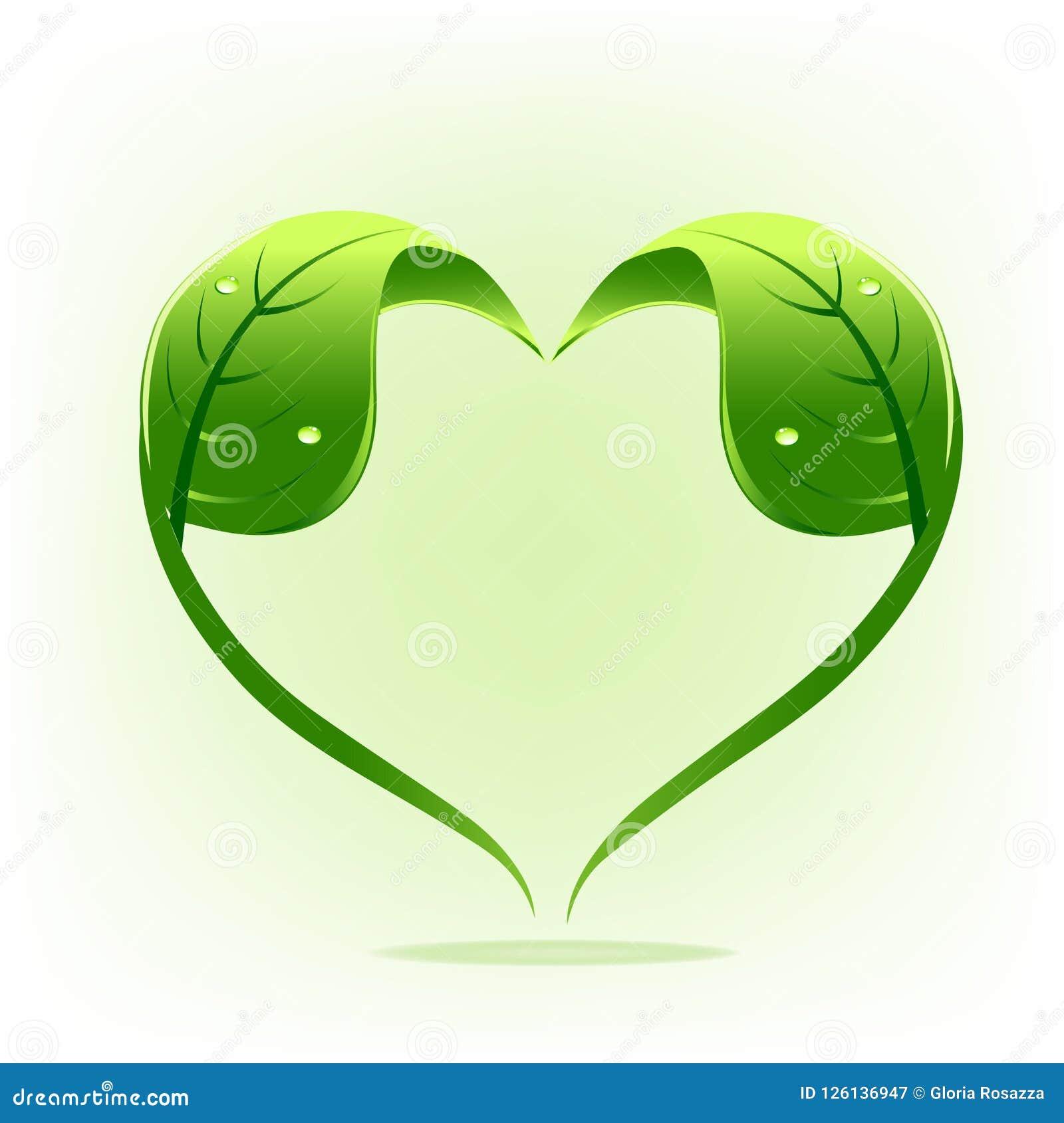 För naturblad för logo sund design för vektor för form för hjärta