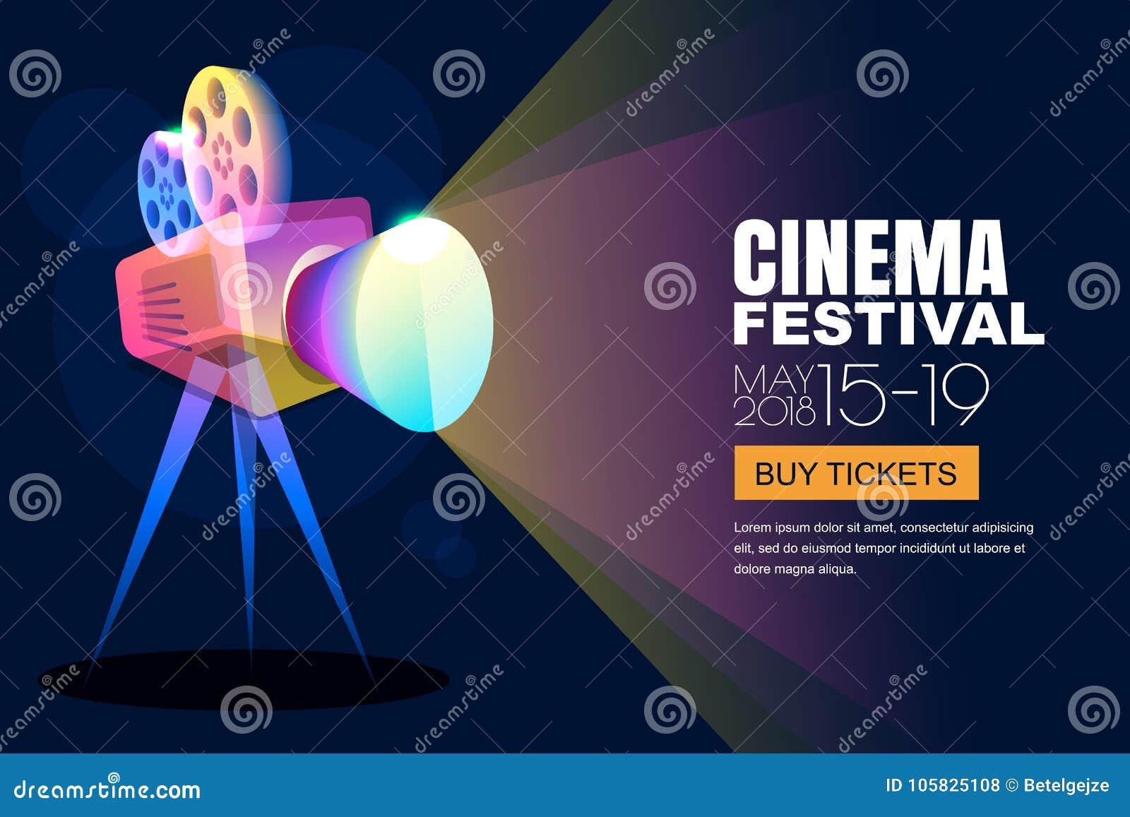 För neonbio för vektor glödande affisch för festival eller banerbakgrund Färgrik filmkamera för stil 3d med filmstrålkastaren