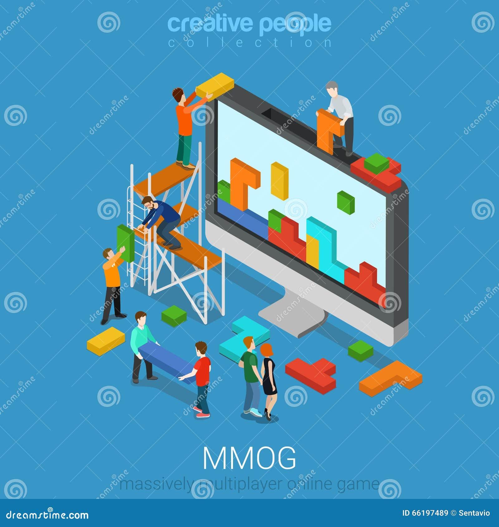 För online speldobbel för MMOG kraftigt isometrisk multiplayer lägenhet 3d