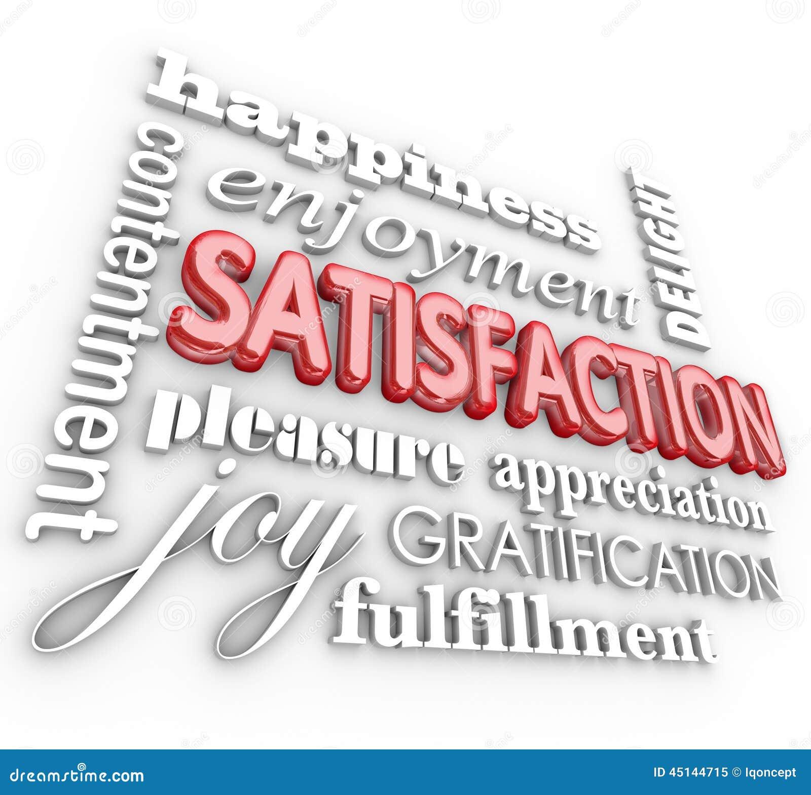 För ordcollage för tillfredsställelse 3d kund Servic för njutning för lycka