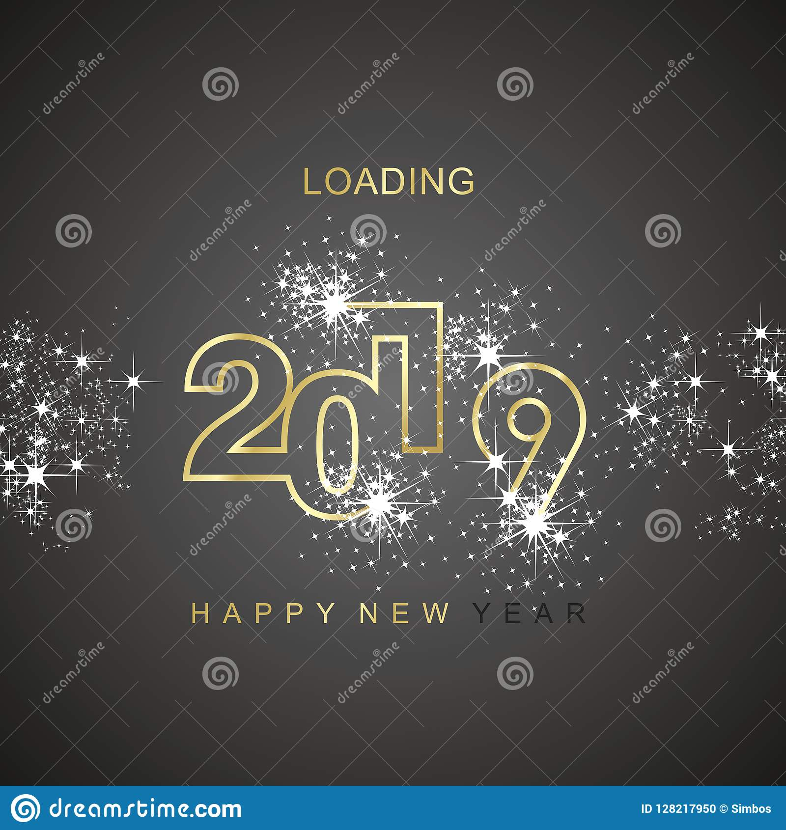 För päfyllningsgnista för lyckligt nytt år symbol 2019 för logo för vektor för svart för guld för fyrverkeri