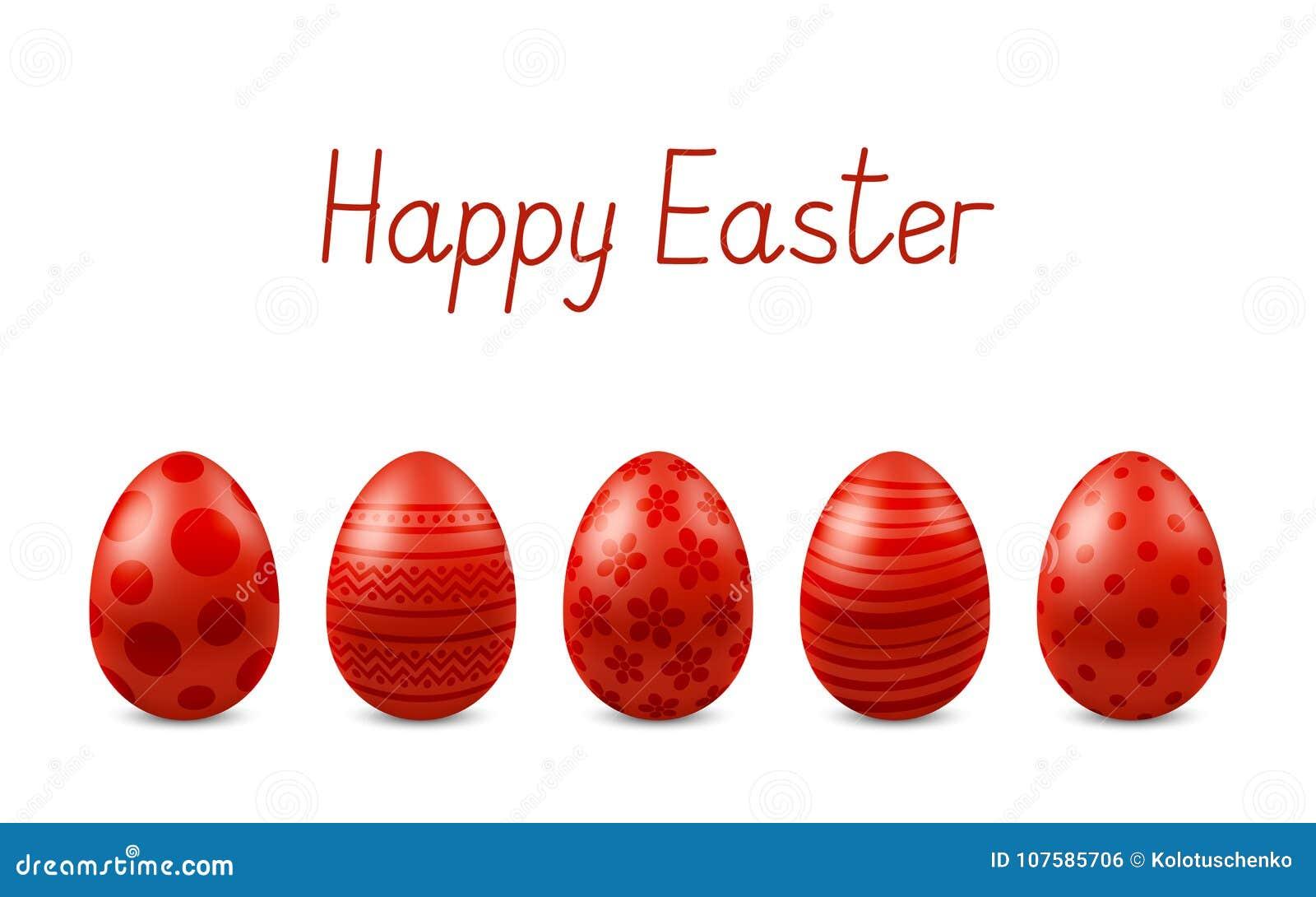 För påskhälsning för vektor lyckligt kort med isolerade realistiska ägg Fem röda glansiga metalleaster ägg ` för påsk för text` l