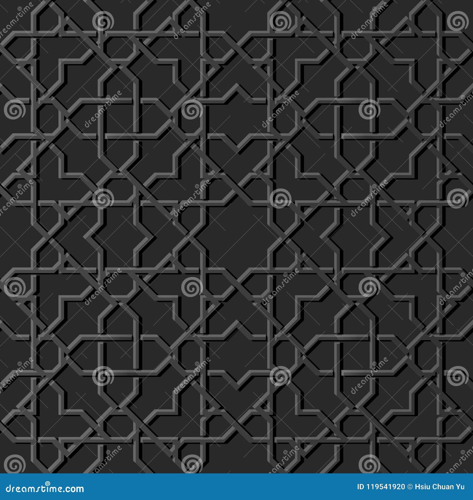 För papperskonst för mörker 3D backgr för islamisk för geometri en sömlös modell för kors