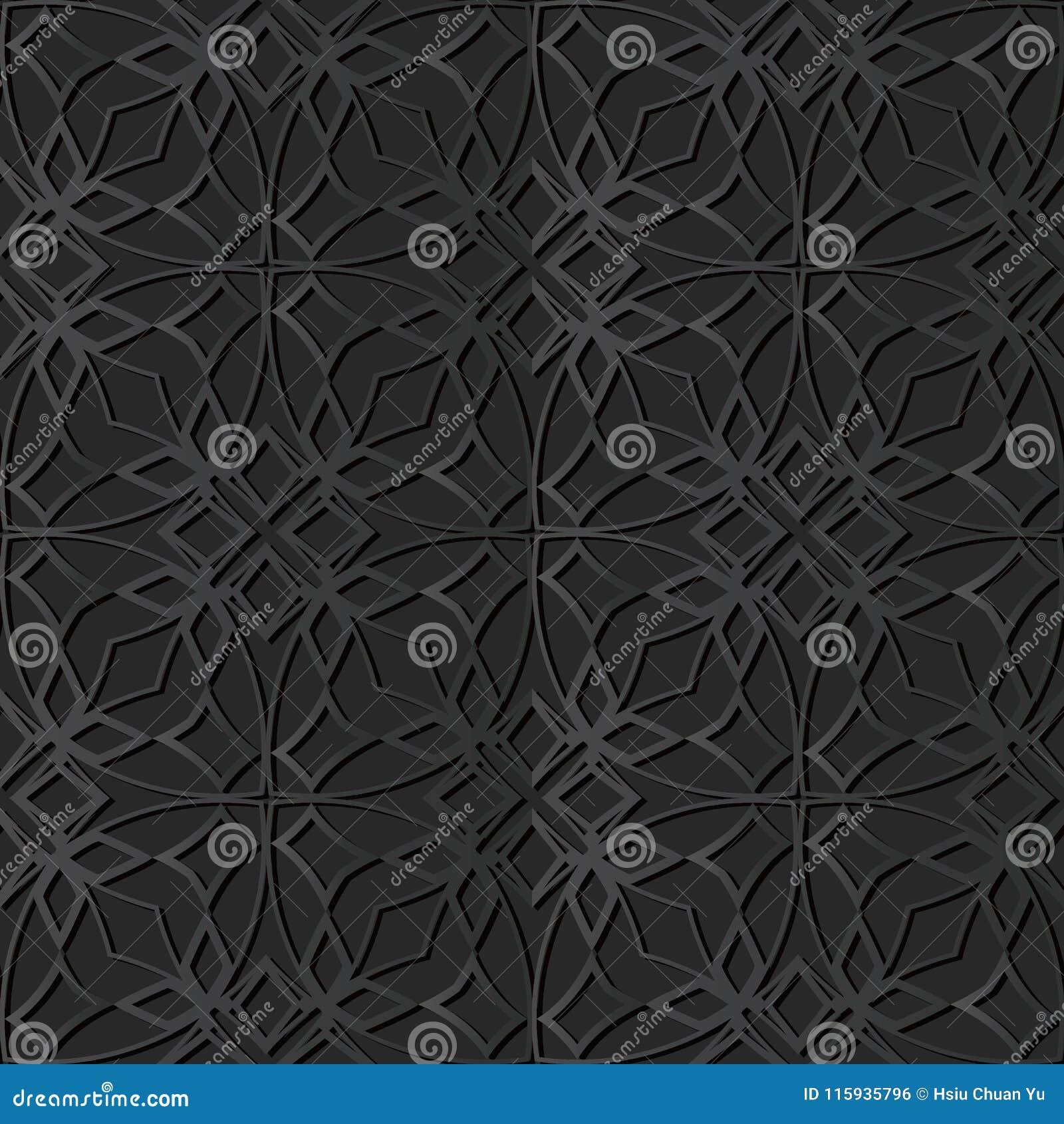 För papperskonst för mörker 3D linje för ram för kors för kurva stjärnablommakedja