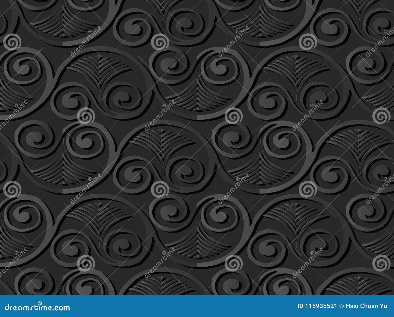 För papperskonst för mörker 3D vinranka för ram för blad för fan för virvel för spiral för kurva