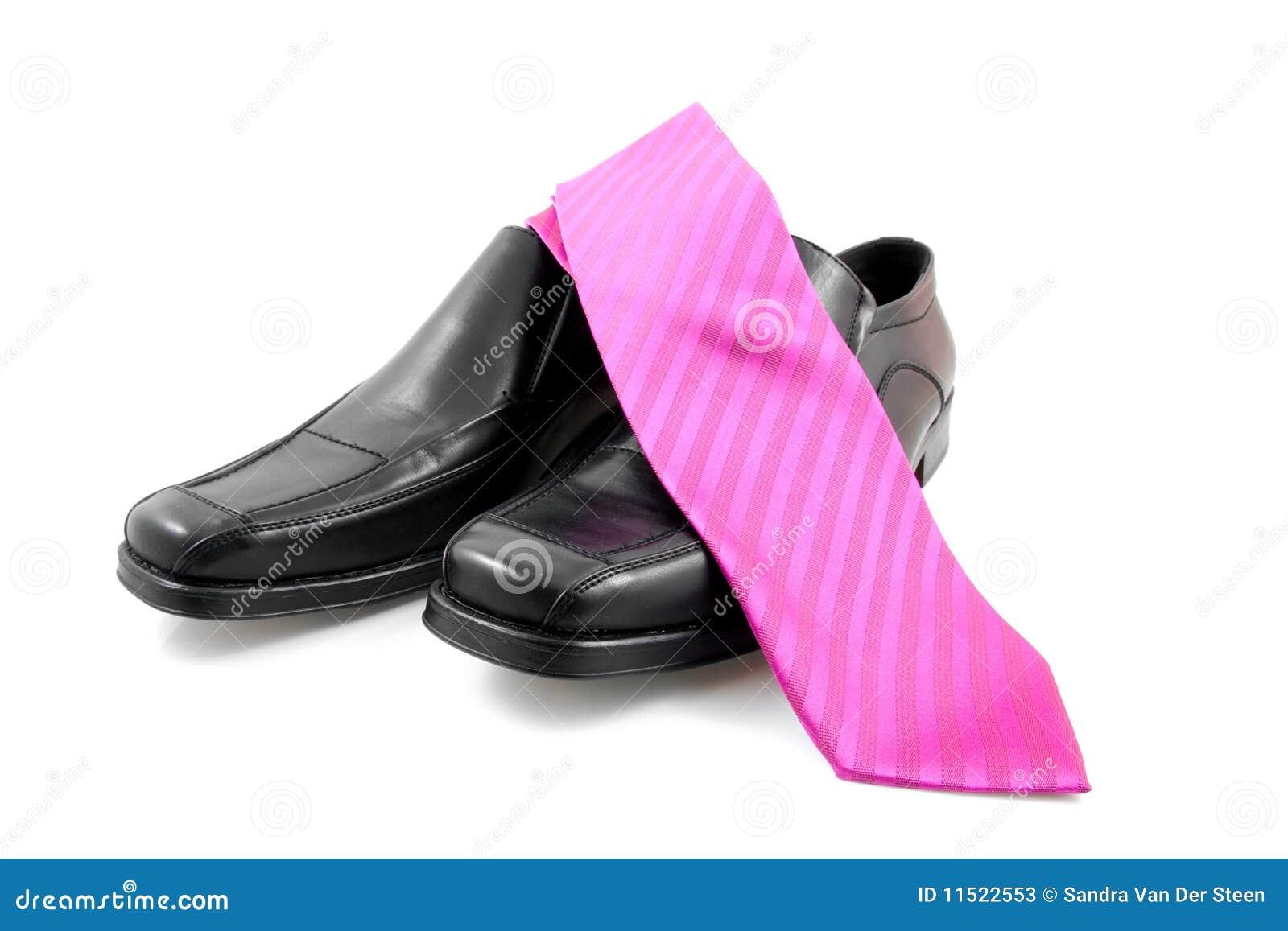 För parpink för svart affär male tie för skor
