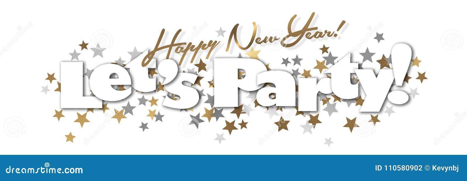 För partibaner för lyckligt nytt år guld och silver