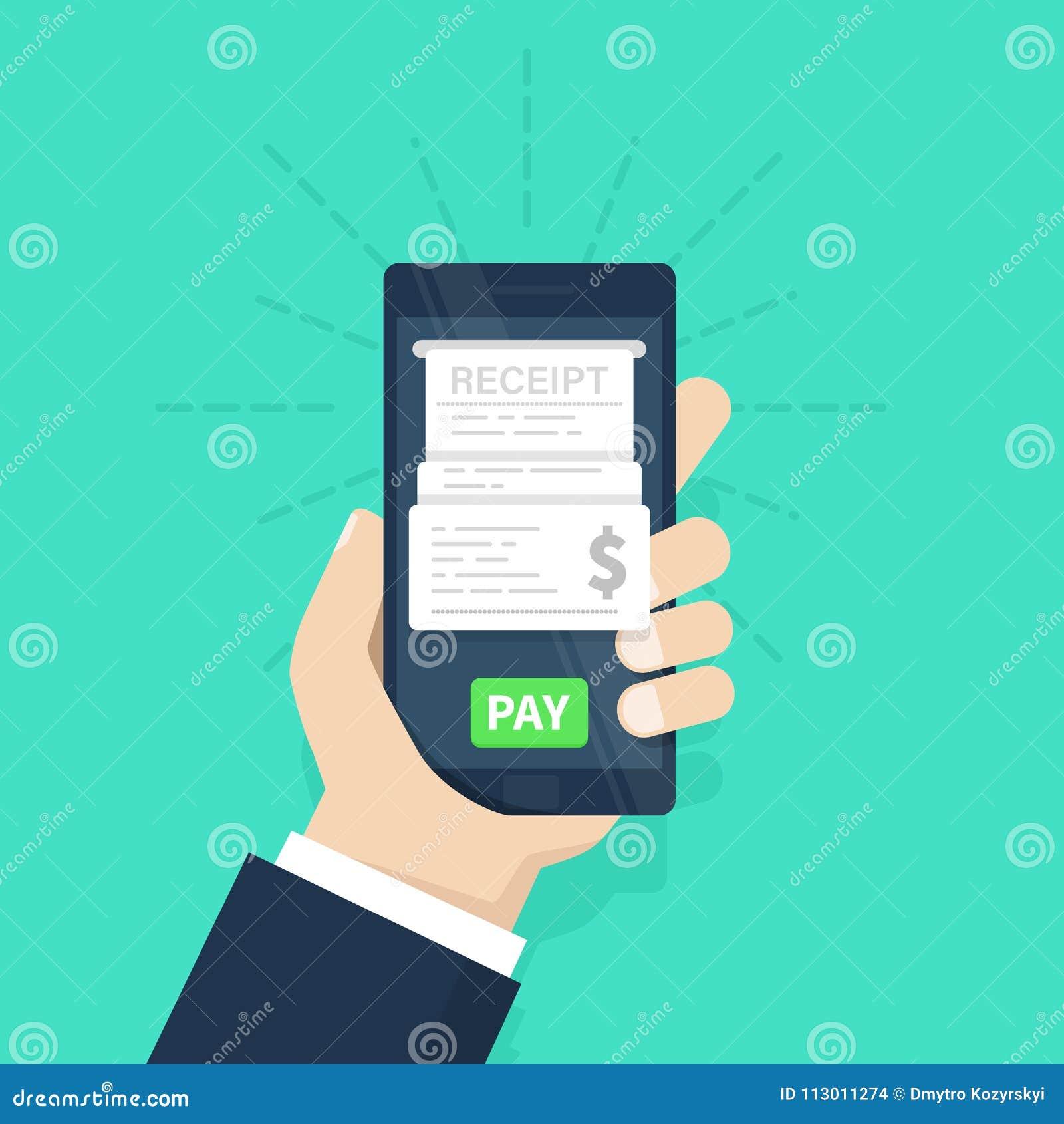För pengarbetalning för begrepp mobil telefon kvitto Lönräkningar på linje internet för jordklot för kreditering för bankrörelsek