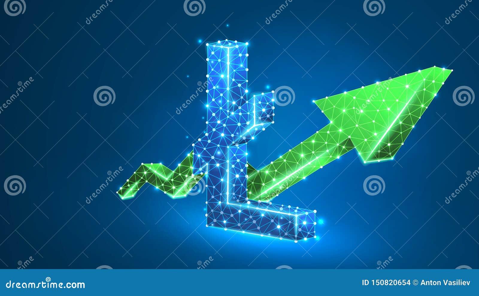 För pilLitecoin för tillväxt grönt diagram cryptocurrency Affär datakassaframgång, digitalt finansbegrepp Abstrakt digitalt,