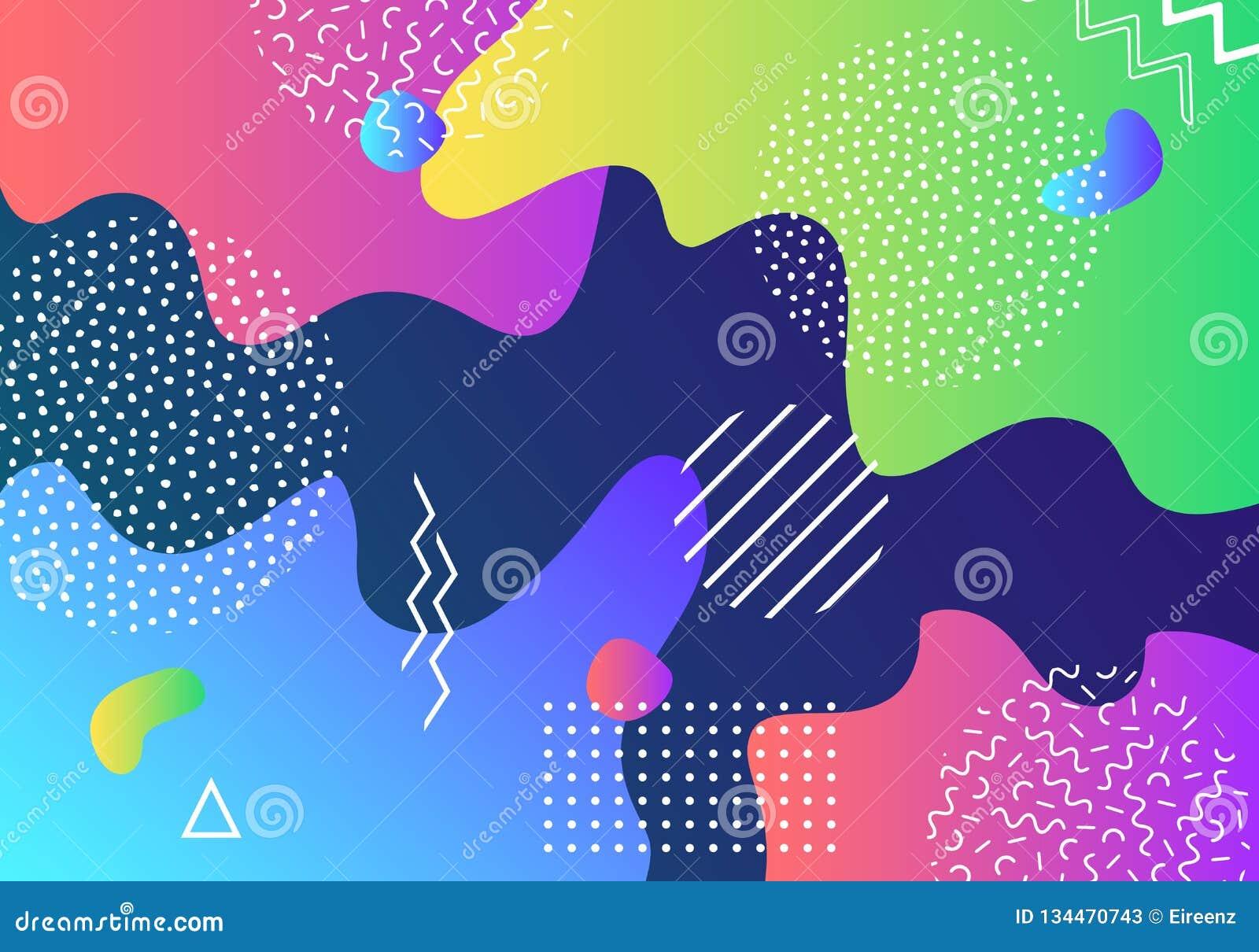 För popkonst för vektor abstrakt bakgrund för modell med linjer och prickar Moderna vätskefärgstänk av geometriska former