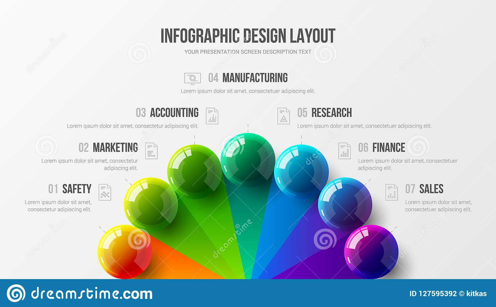 För presentationsvektor 3D för fantastisk affär infographic illustration för bollar färgrik Orientering för design för rapport fö