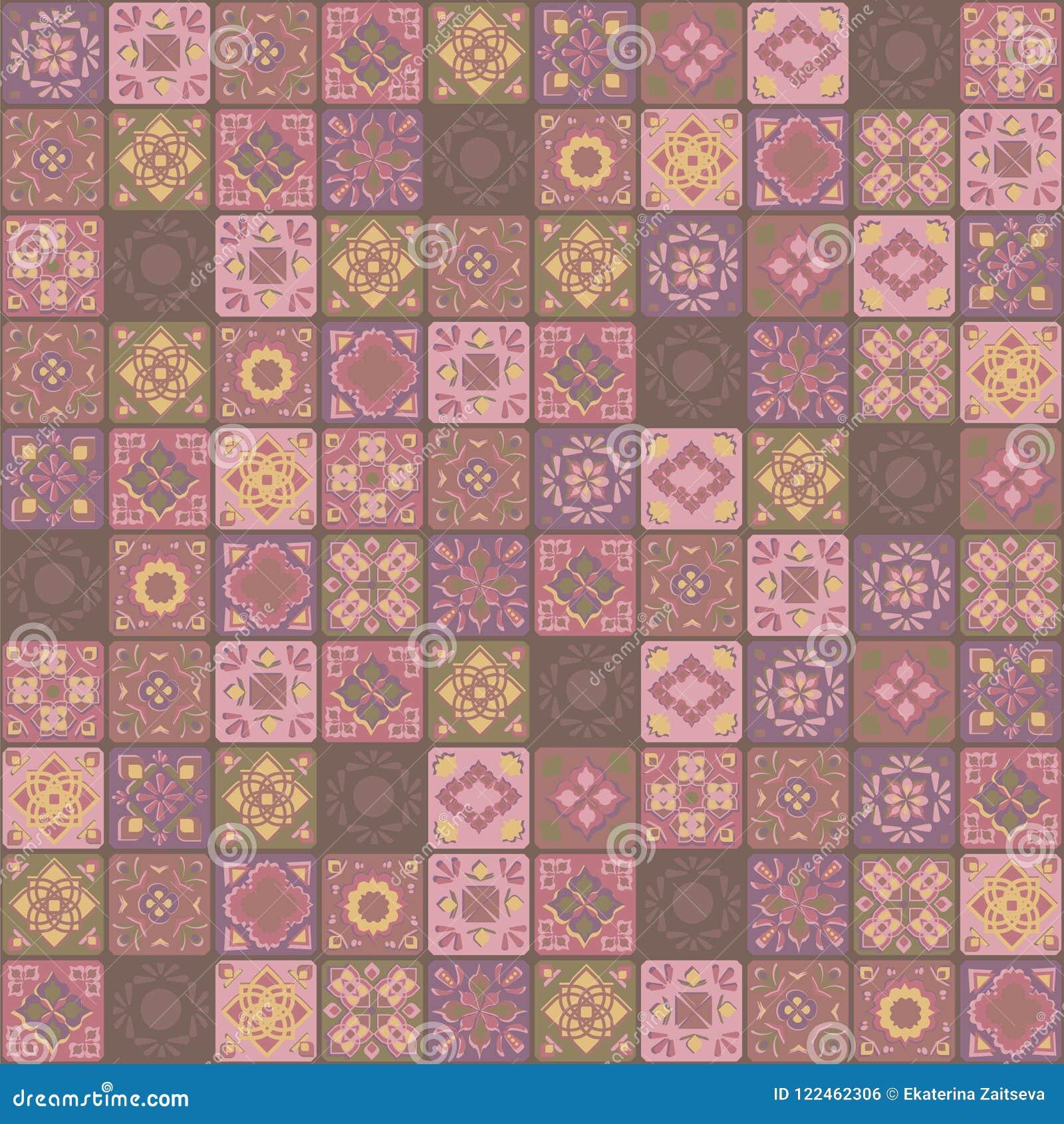 För prydnadbrunt för vektor sömlöst PA för fyrkantig indisk för guling rosa för keramiska tegelplattor blom- för grönsak för mosa