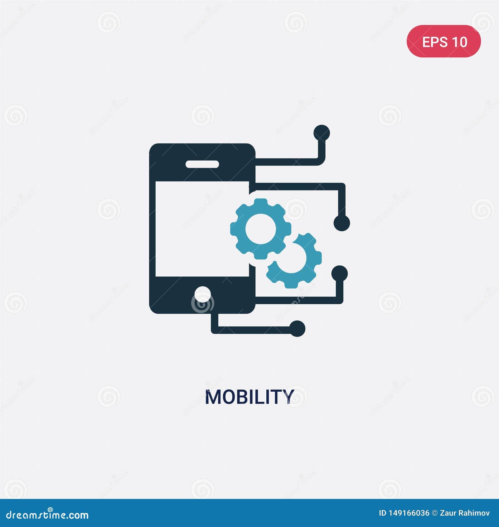 För rörlighetsvektor för två färg symbol från smart hem- begrepp det isolerade blåa symbolet för rörlighetsvektortecknet kan vara