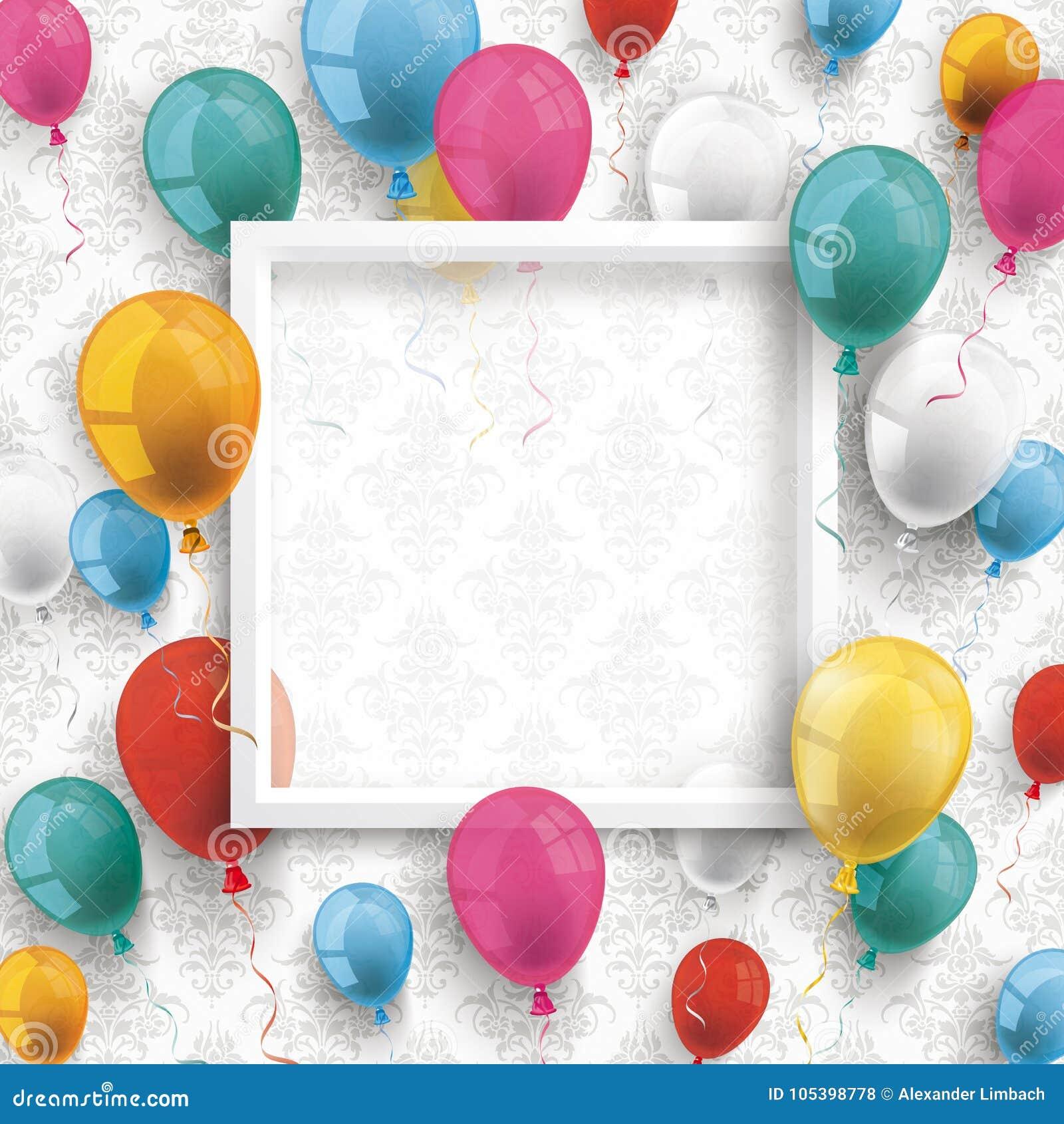 För ramprydnader för kulöra ballonger vit tapet