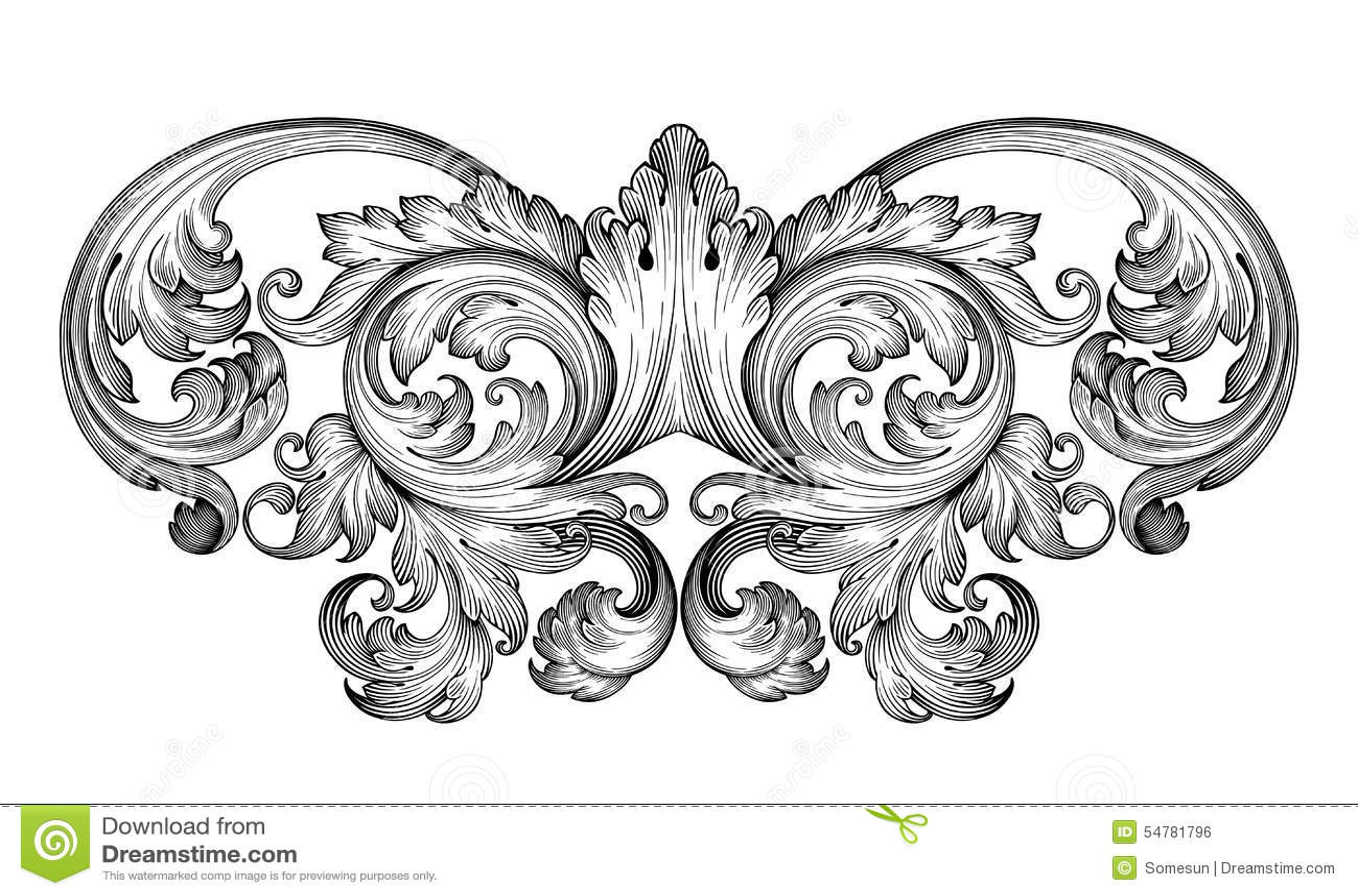 För ramsnirkel för tappning barock vektor för prydnad