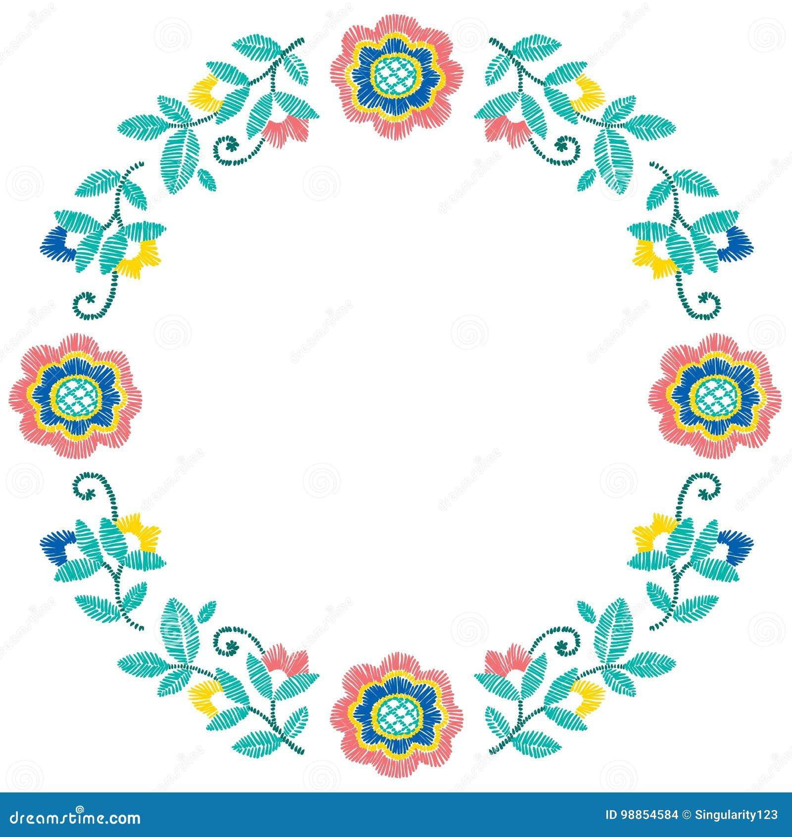 För ramvektor för broderi dekorativ blom- modell, prydnad för textildekor Handgjord stilbakgrund för bohemisk ethno