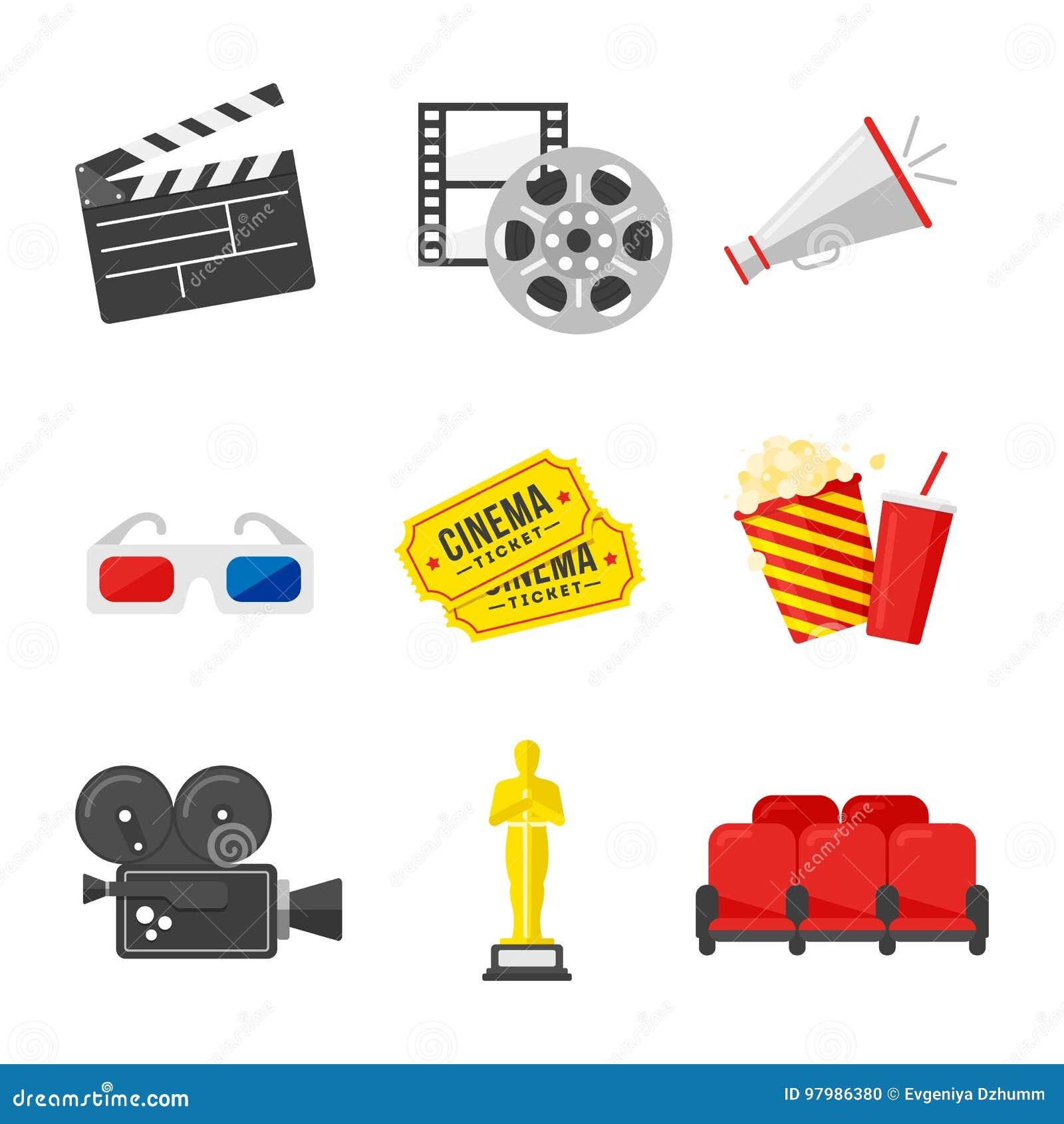 För redigerbar eps fullt set stordia symbolsfilm för 10 Färgrika symboler på biotemat i plan stil