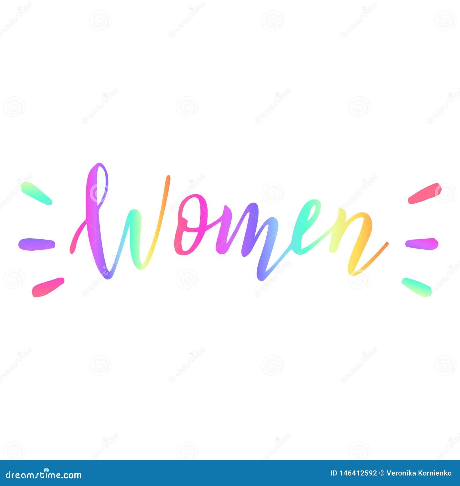 För regnbågekvinnor för hand utdraget ord kul?rt objekt ett f?r greys f?r begreppsm?ngfaldframdel