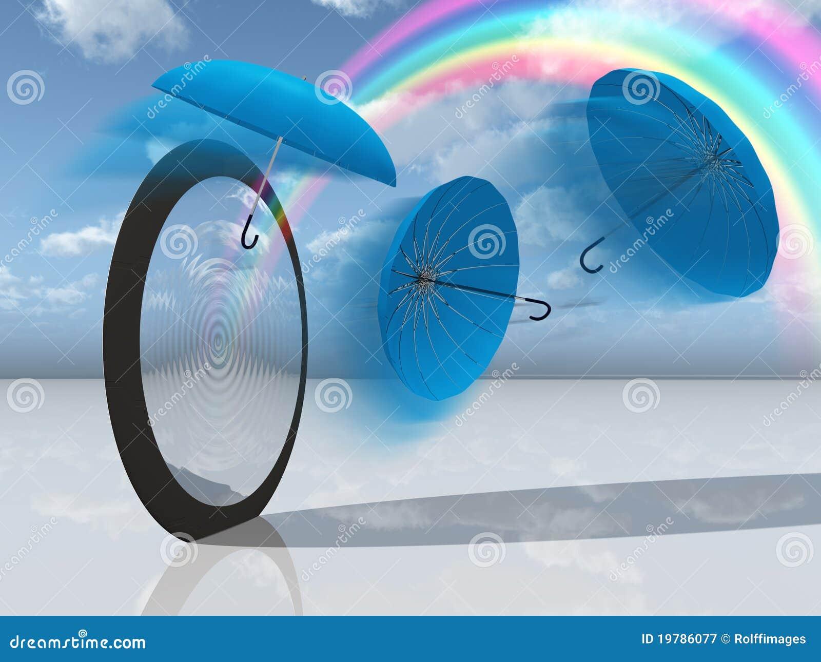 För regnbågeplats för blue dröm- paraplyer