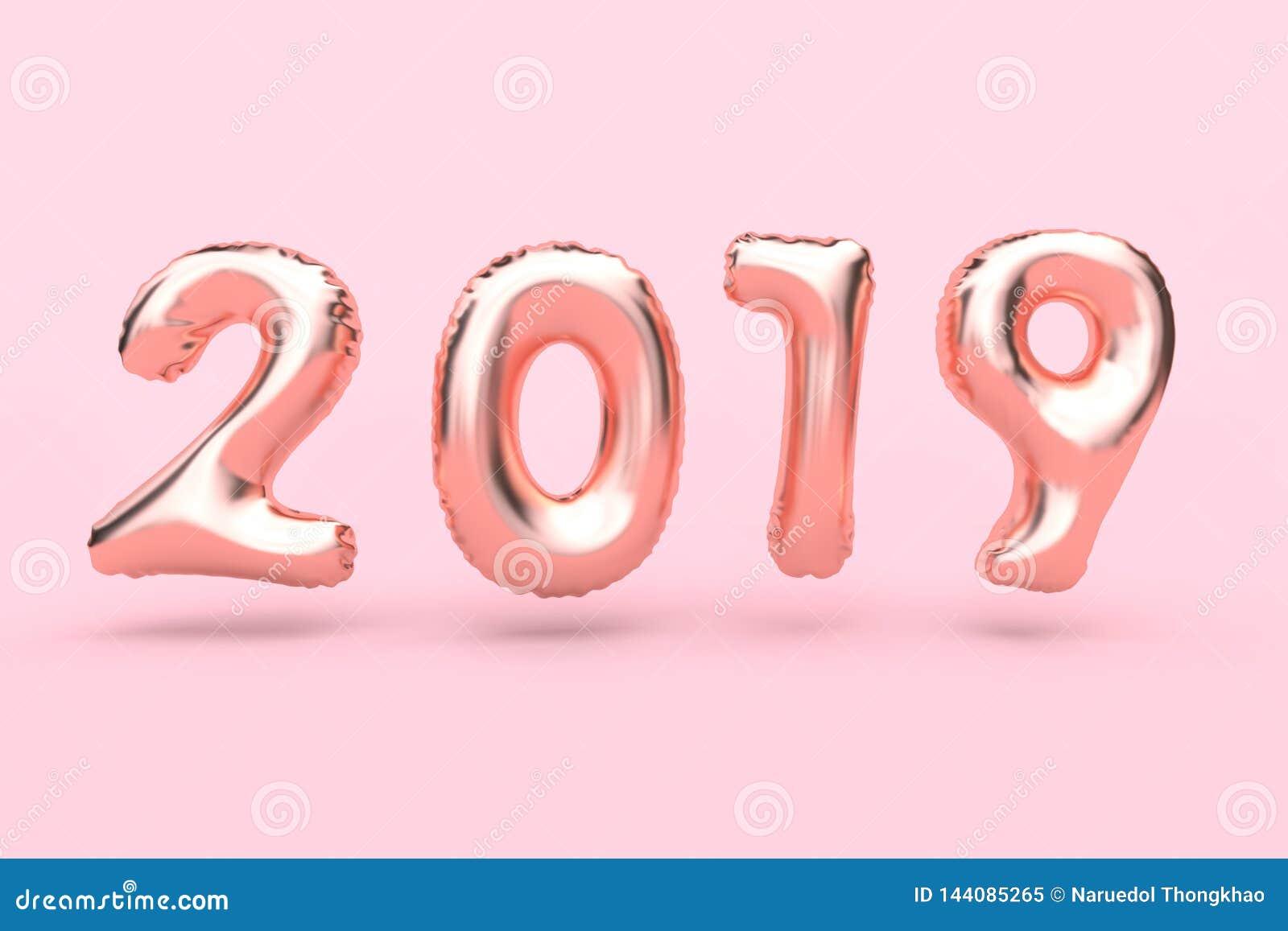 För rosa färg-ros för tolkning som 3d typ-nummer 2018 guld- abstrakt ballong svävar rosa begrepp för ferie för nytt år för bakgru
