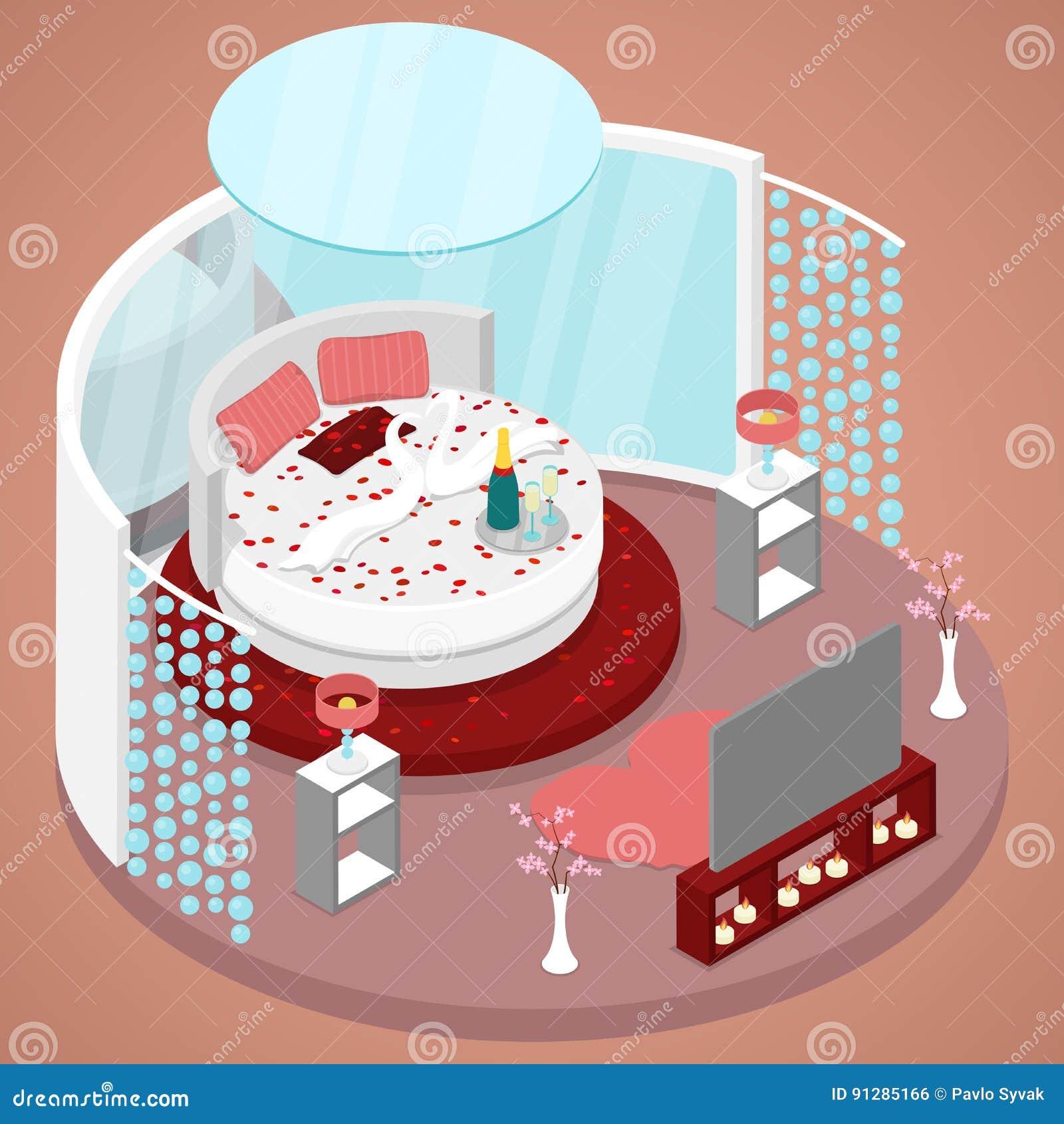 För ruminre för bröllopsresa precis att gifta sig design med säng av blommor Isometrisk plan illustration