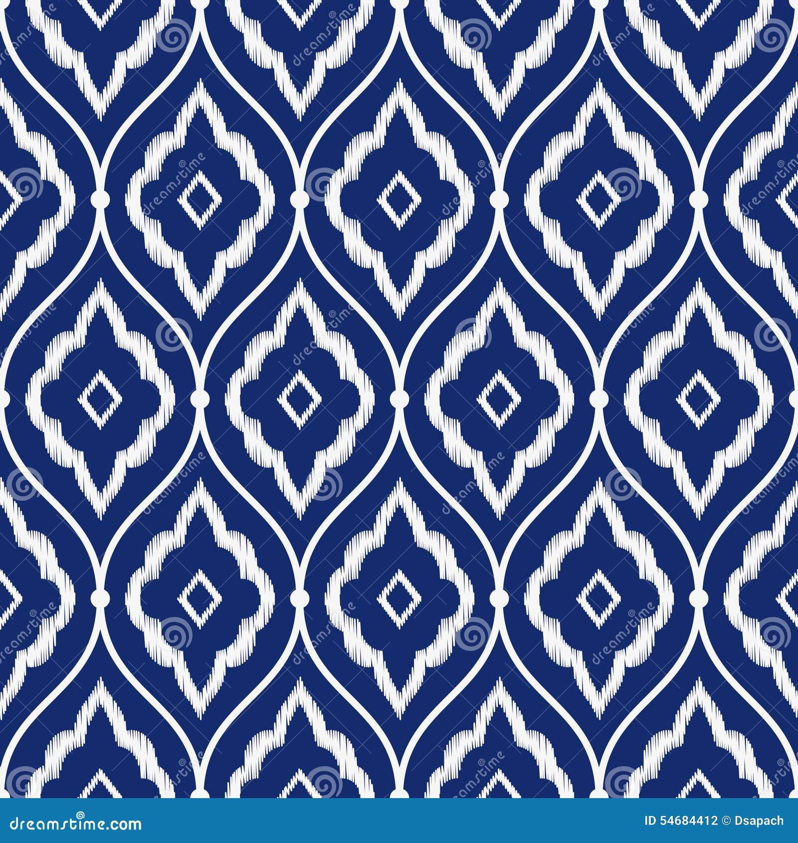 För sömlöst porslin ikat för tappning för indigoblå blått och vitmönstrar persisk vektorn