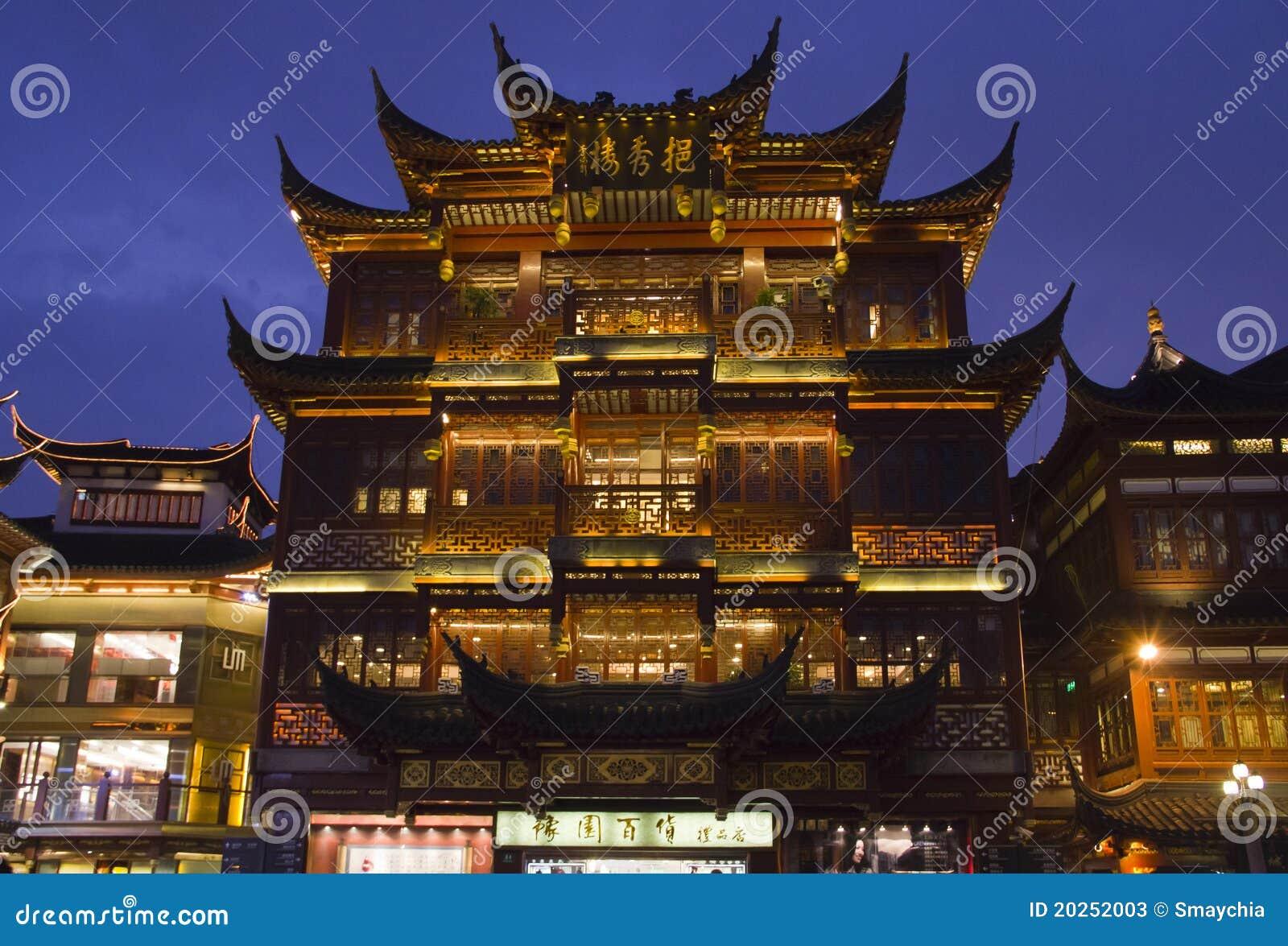 För shanghai för stadsgudnatt sikt tempel