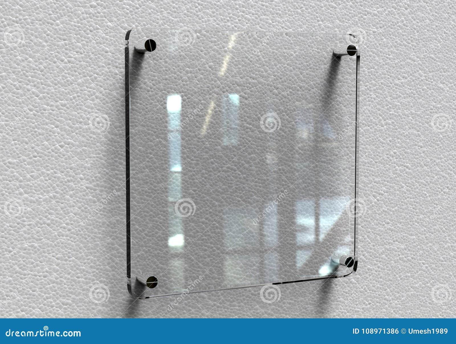 För Signageplatta för tomt genomskinligt glass inre kontor företags modell, tolkning 3d Åtlöje för känd platta för kontor upp på
