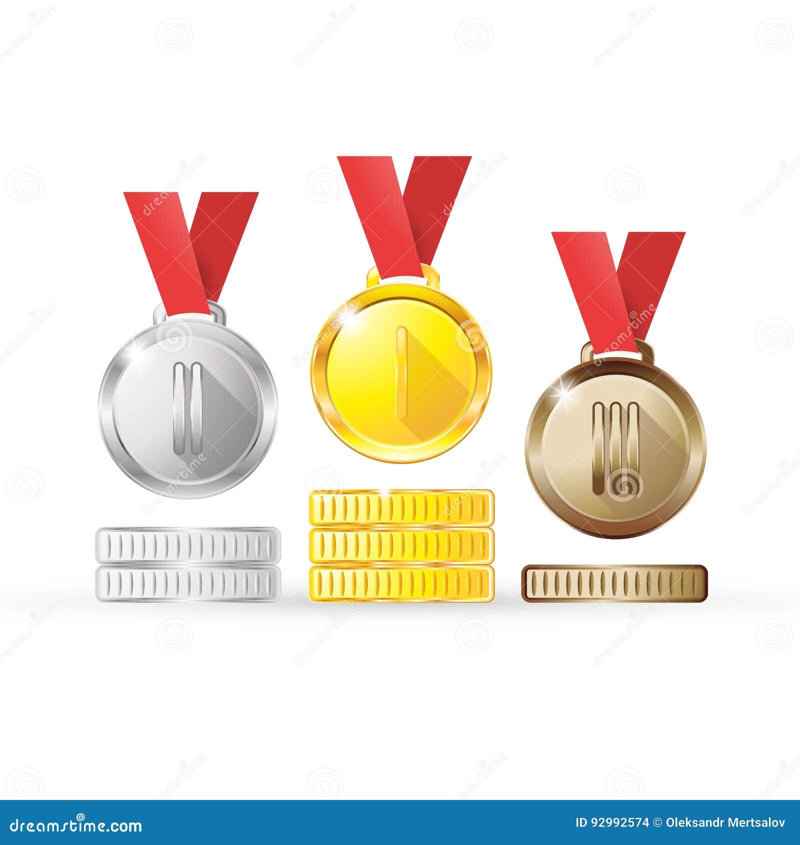 För silverbrons för medaljer guld- koppar på ett rött band som isoleras på vit bakgrund