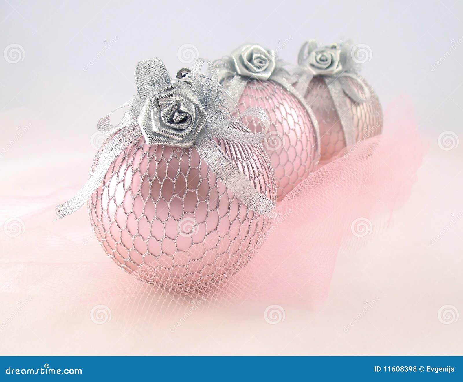 För silversphere tre för jul rosa tree