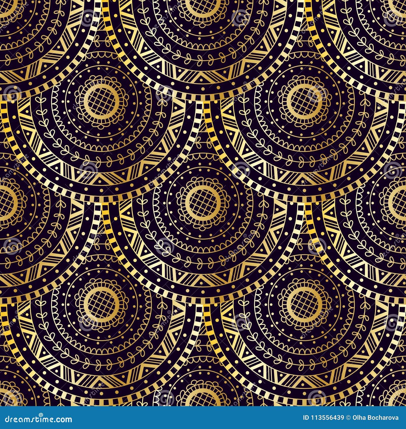 För sjöjungfrusvans för vektor guld- textur Det seamless fiskfjäll mönstrar