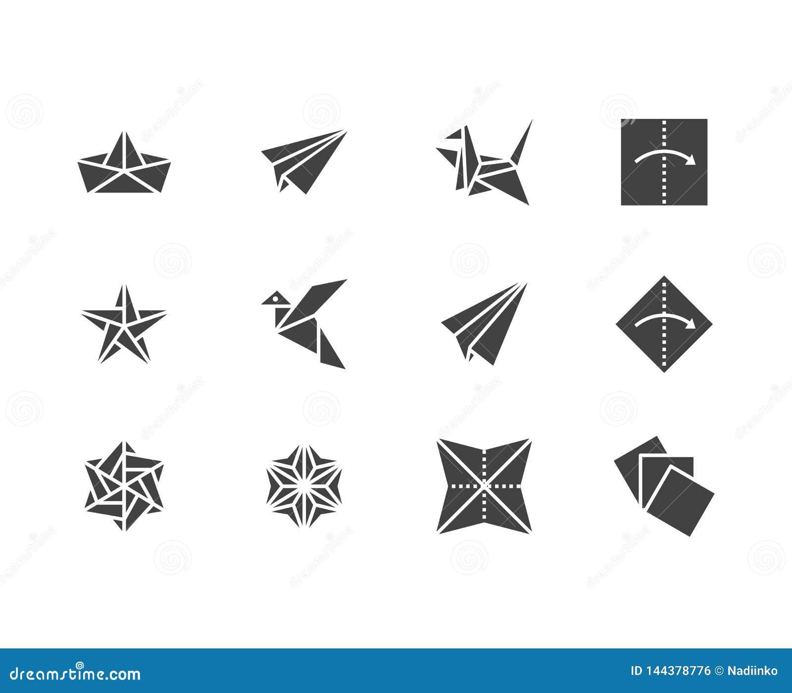 För skårasymboler för origami plan uppsättning Pappers- kranar, fågel, fartyg, illustrationer för plan vektor Tecken för japansk