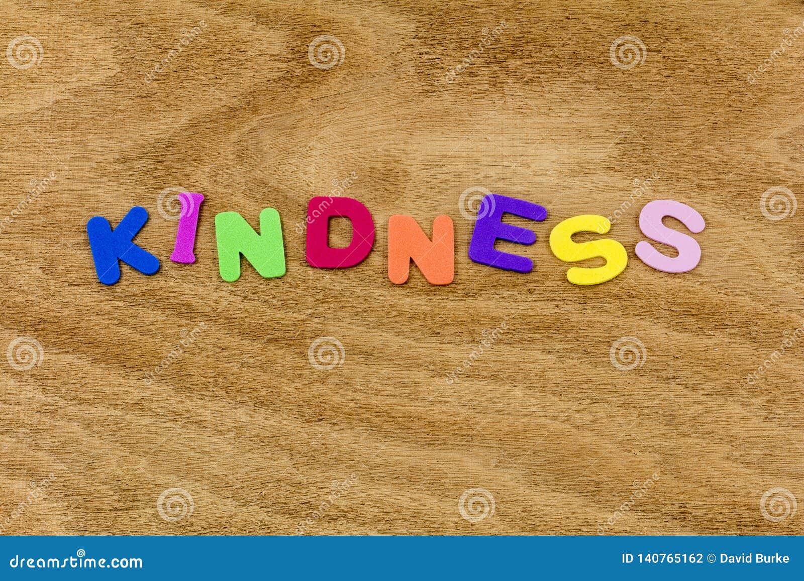 För snäll bokstäver för barn för pass hjälpvälgörenhet för vänlighet försiktiga