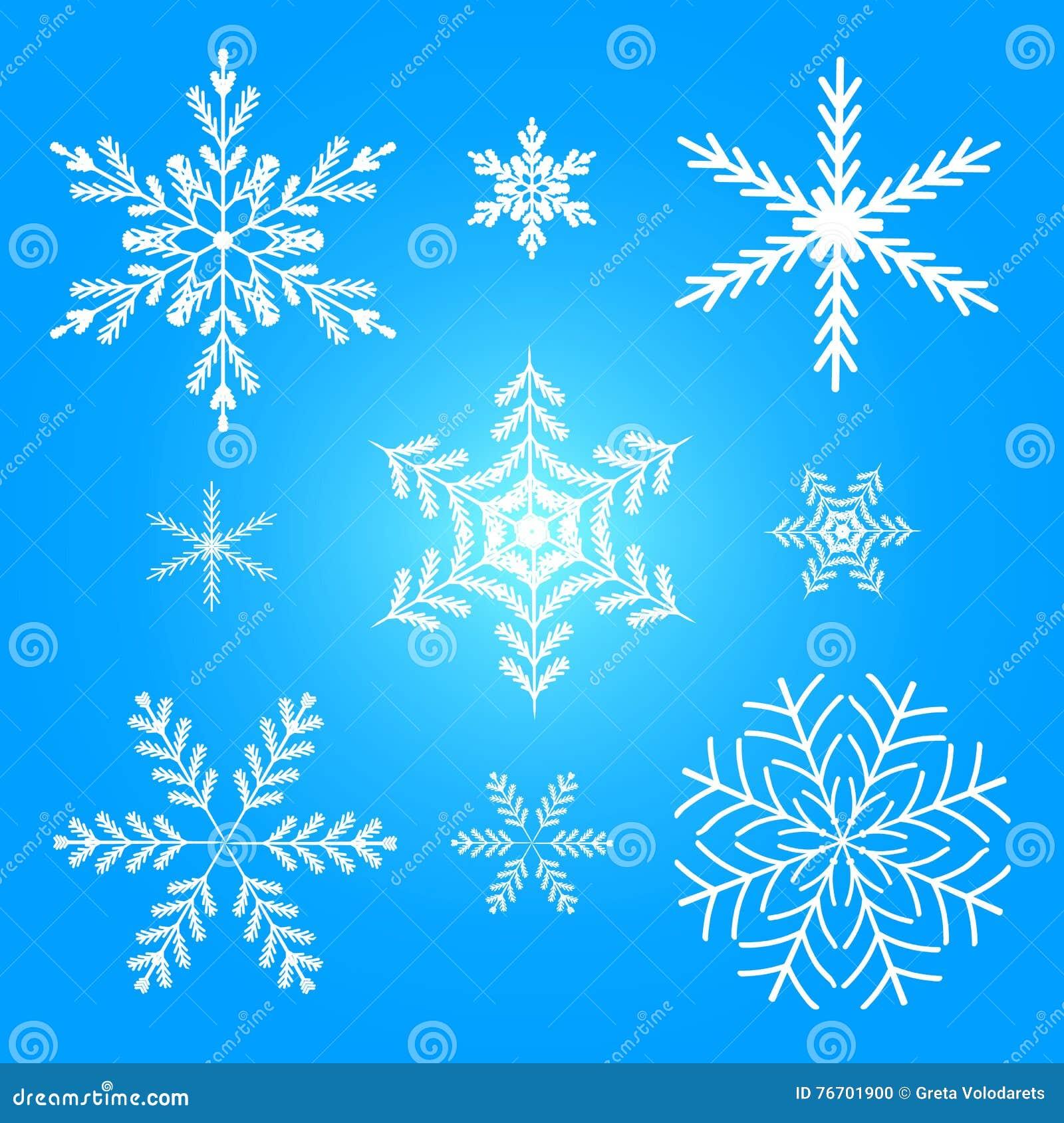 För snowflakevektor för illustration set vinter