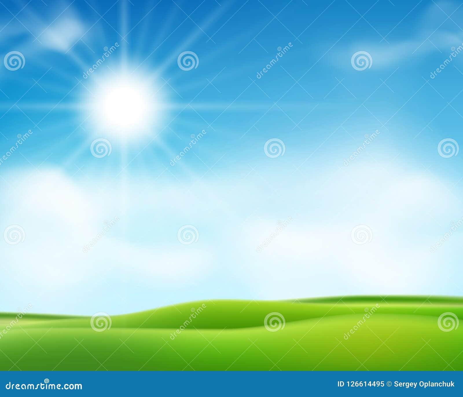 För sommar eller solig morgonbakgrund för vår med blå himmel och den skinande solen Affischdesign för solig dag också vektor för