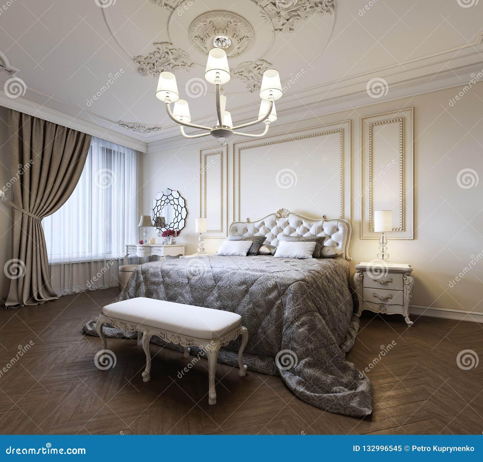 För sovruminre för stads- modern modern klassiker traditionell design med beigea väggar, elegant möblemang och sänglinne