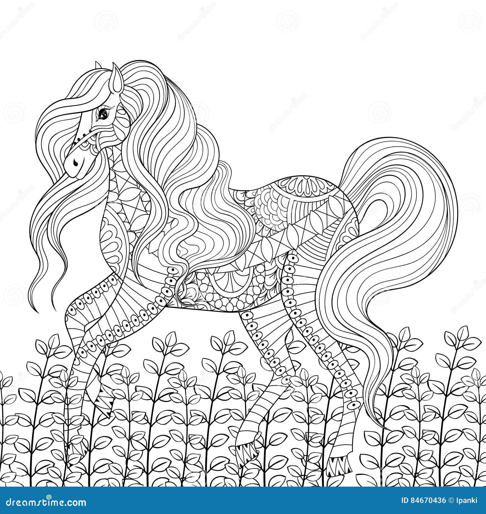 För spänningsfärgläggning för tävlings- häst vuxen anti-sida Hand dragen zentang