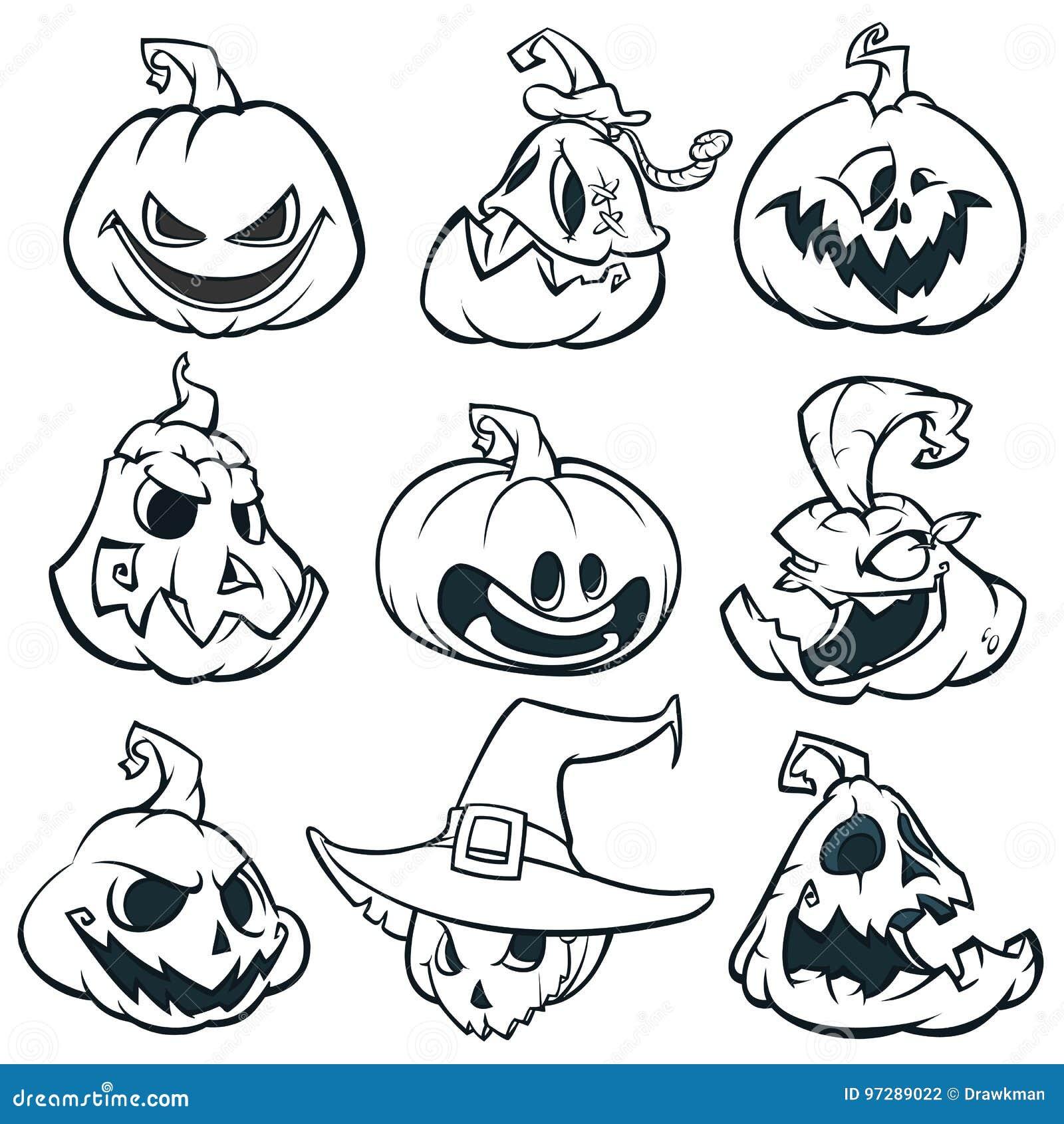 För stålarnolla för tecknad film skisserad spöklik uppsättning för pumpor för lykta för ` Halloween vektorillustration