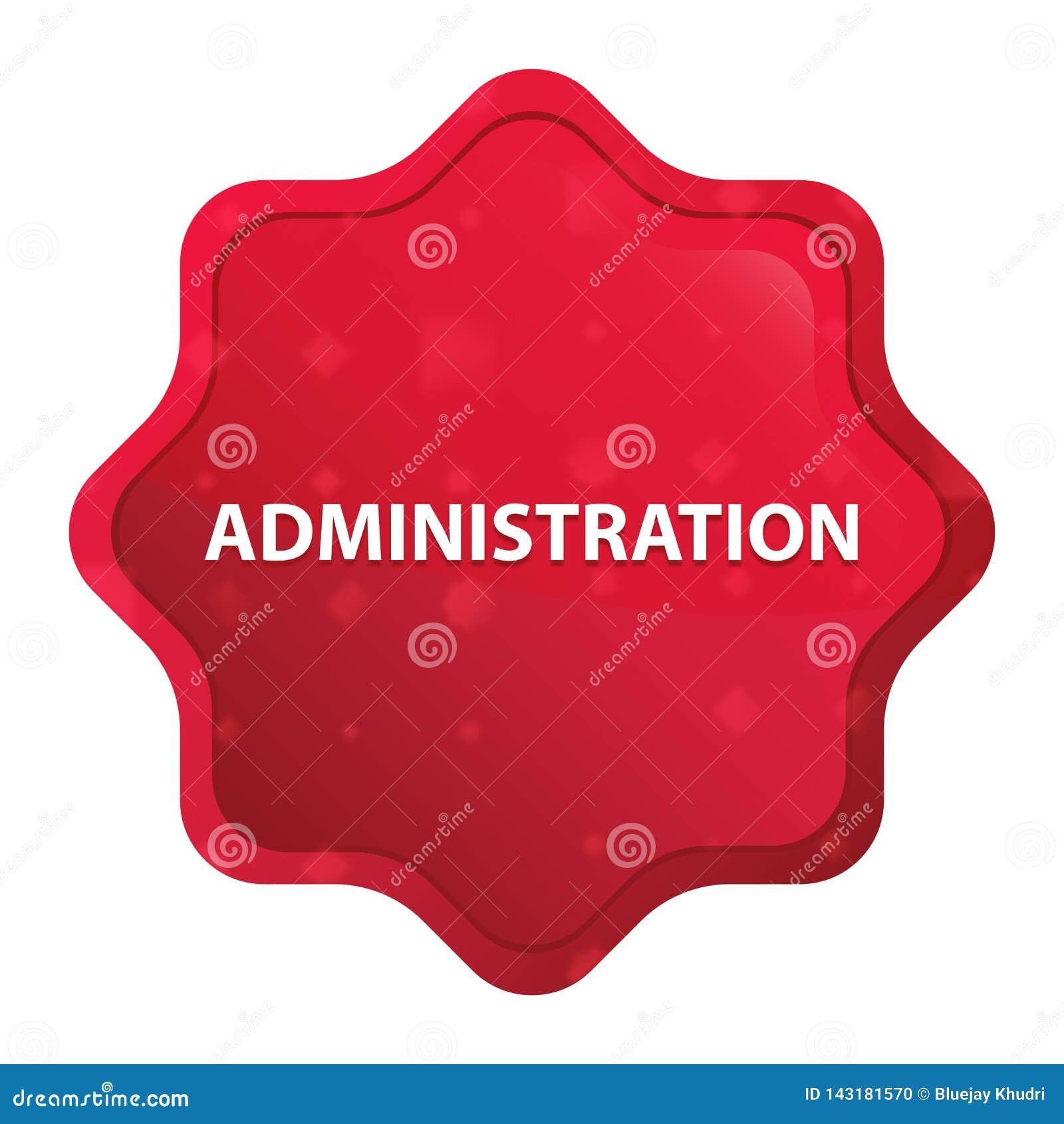 För starburstklistermärke för administration dimmig rosa röd knapp