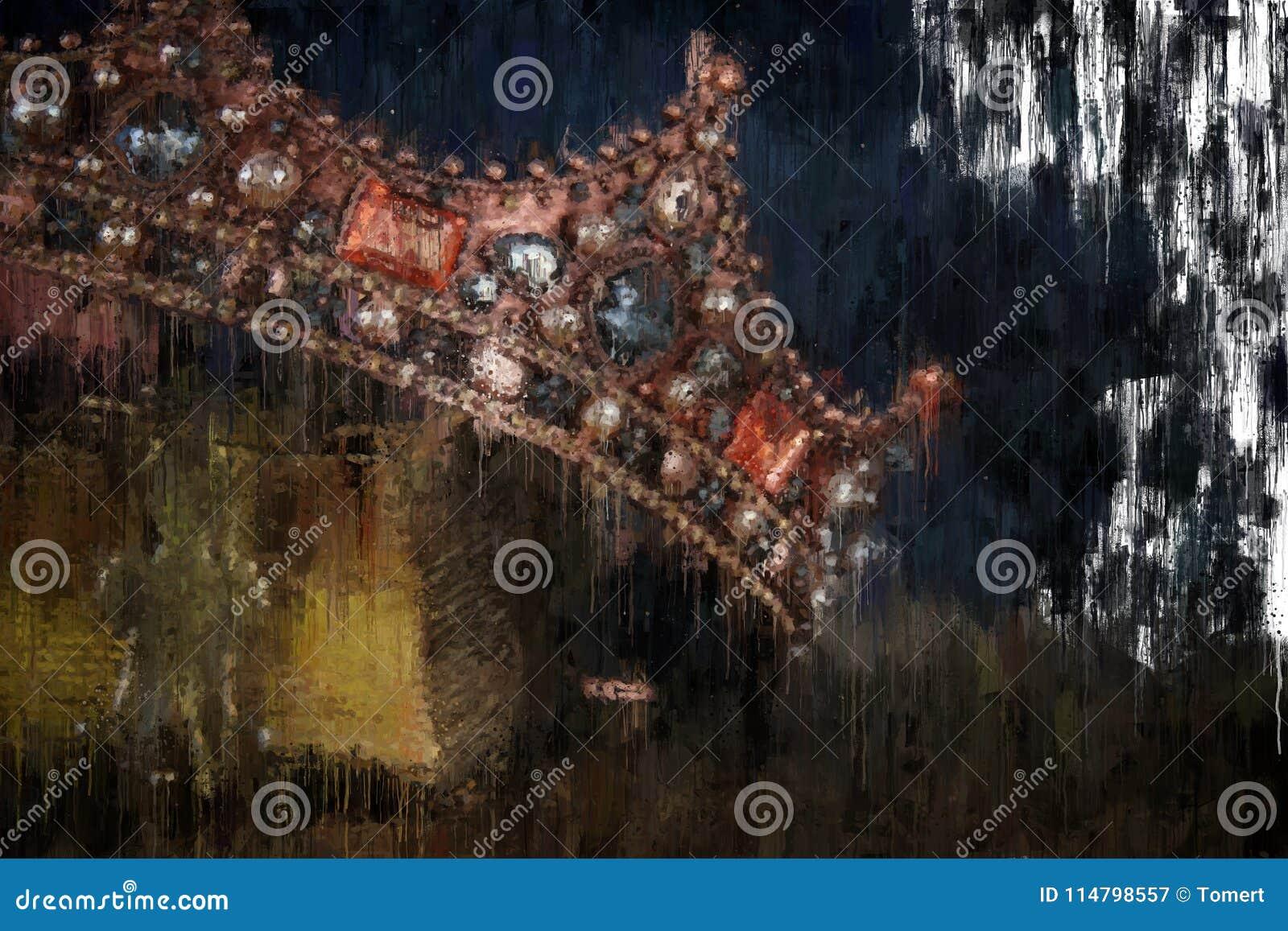 För stilabstrakt begrepp för olje- målning bild av den guld- kronan medeltida period för fantasi