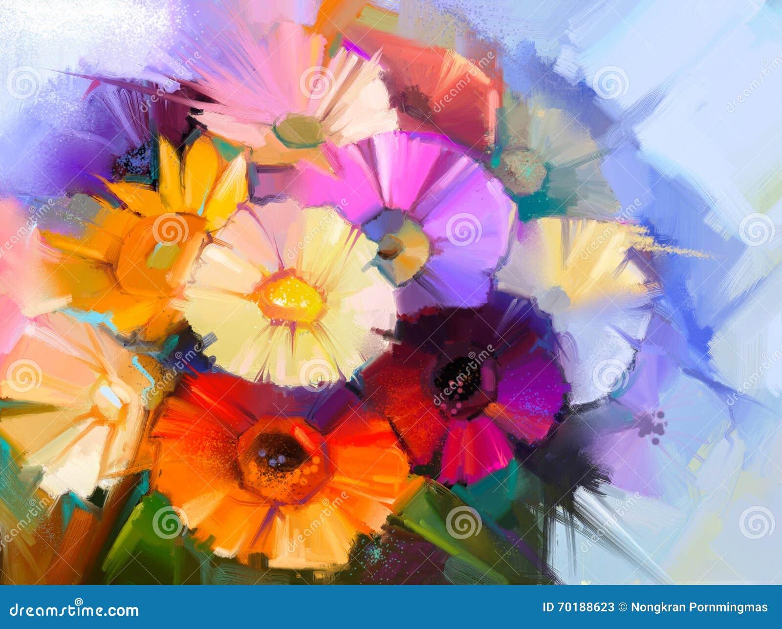 För stillebentusensköna för olje- målning blommor för gerbera