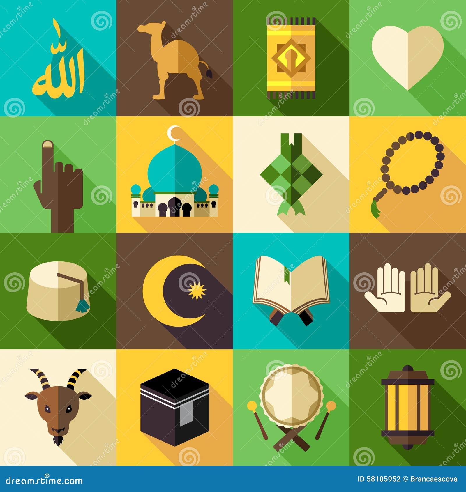 För symbolsvektor för islam plan modern illustration Eid Mubarak